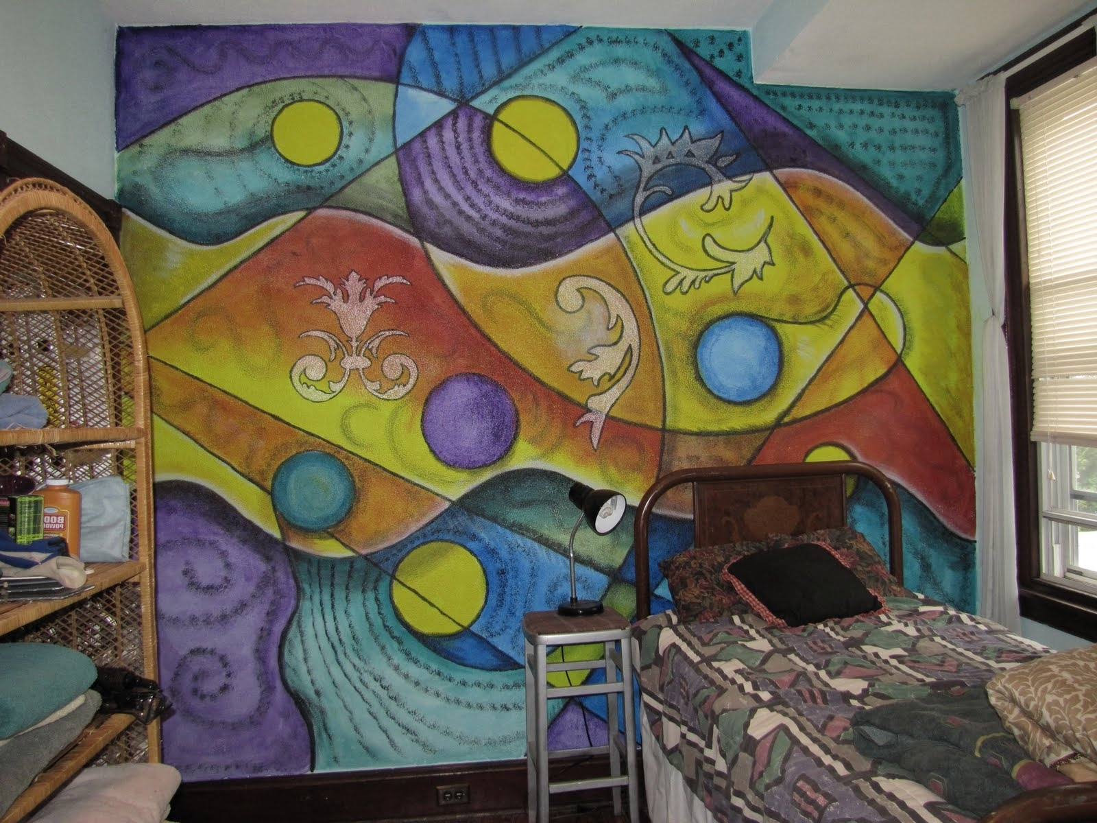 Most Up To Date Abstract Art Wall Murals Inside Painting A Colorful Abstract Mural (View 12 of 15)