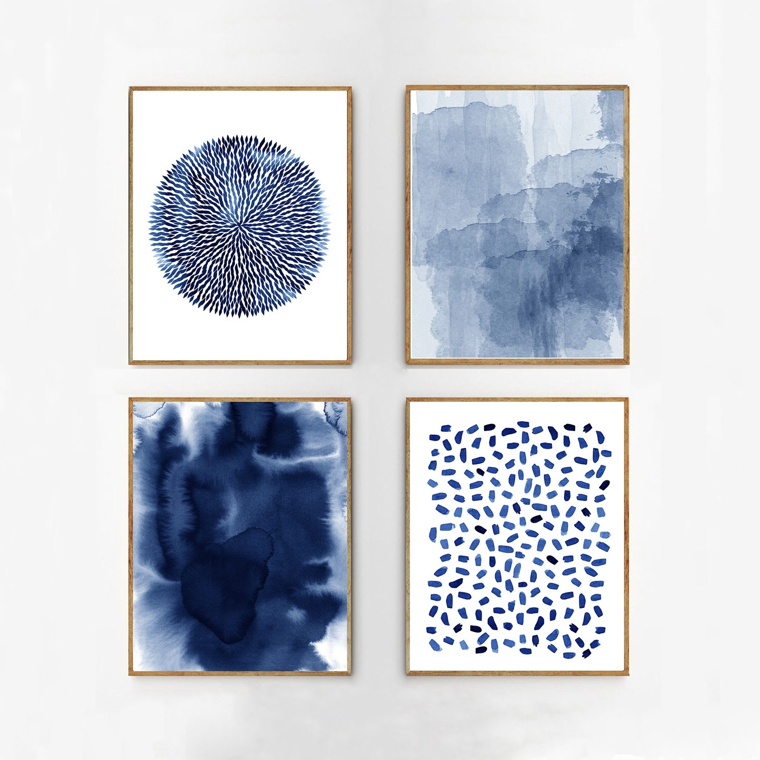 Most Up To Date Abstract Watercolor Set Indigo Blue Wall Art Large Navy Prints Regarding Navy Blue Wall Art (View 6 of 15)