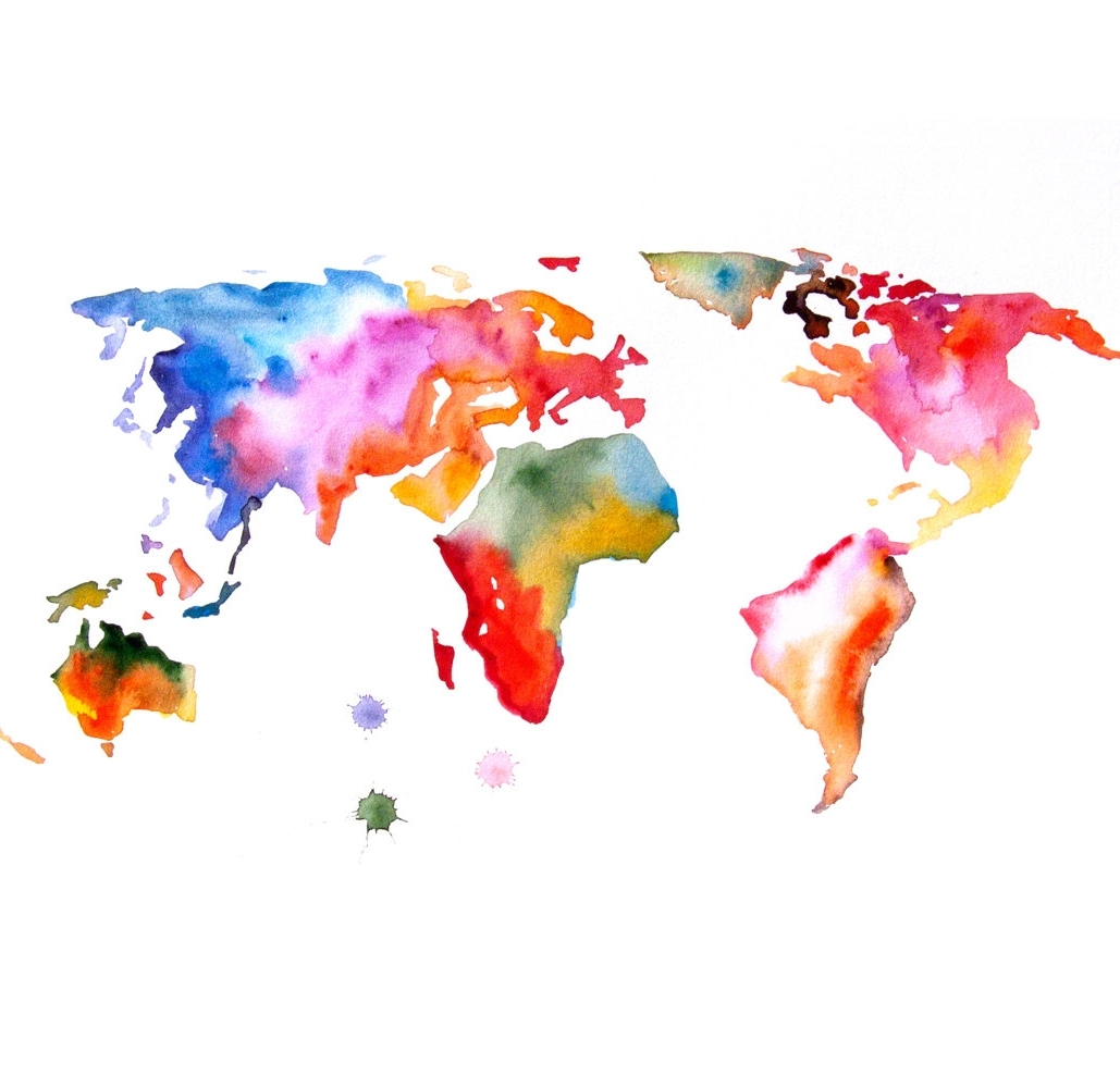 Most Up To Date Abstract World Map Wall Art With Map Of The World Art Print 16x23 Original Watercolor Painting (View 12 of 15)