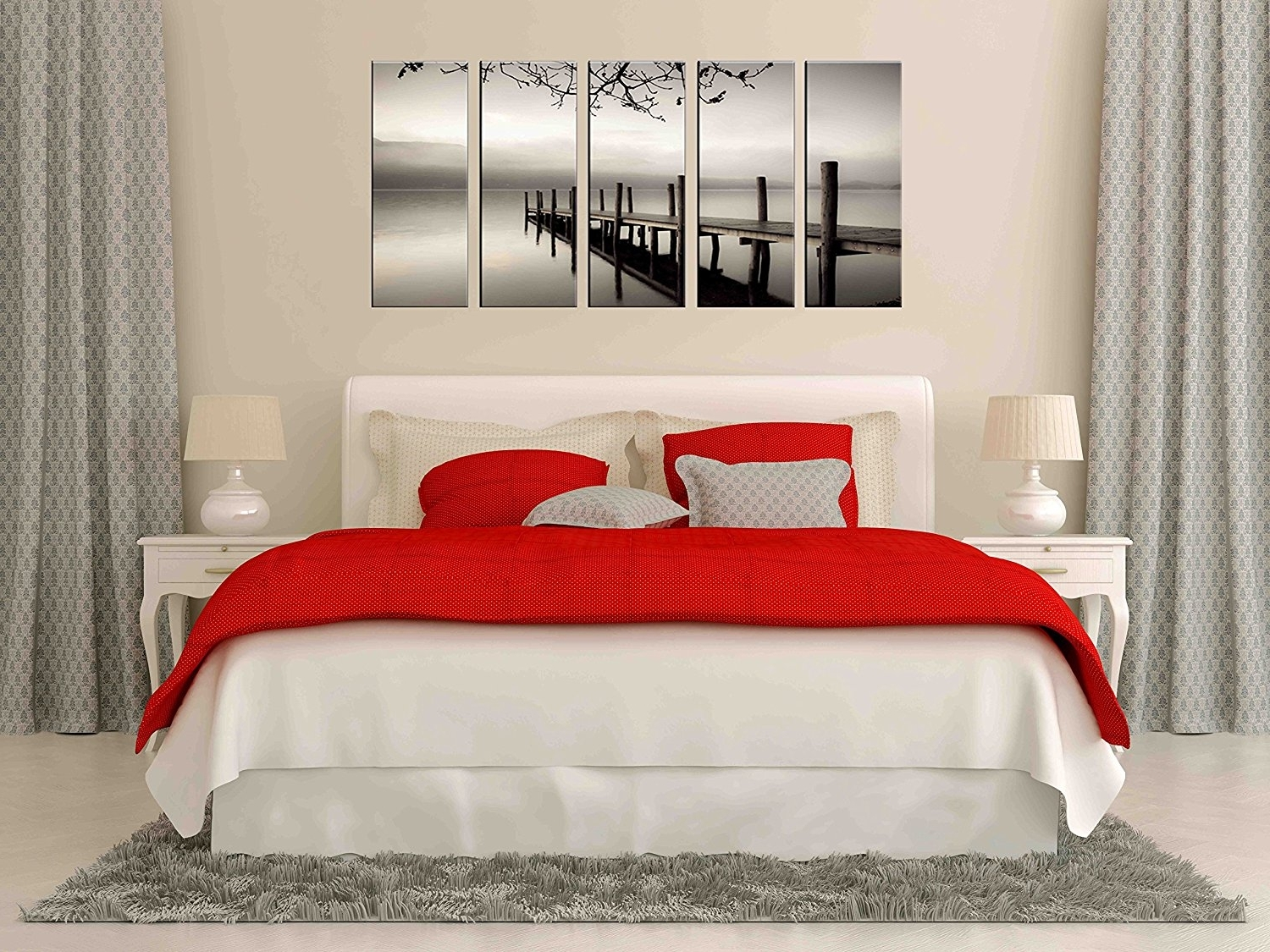 Most Up To Date Amazon: Black And White Sea Lake Canvas Prints, Lake Bridge Pertaining To Teenage Wall Art (View 6 of 15)