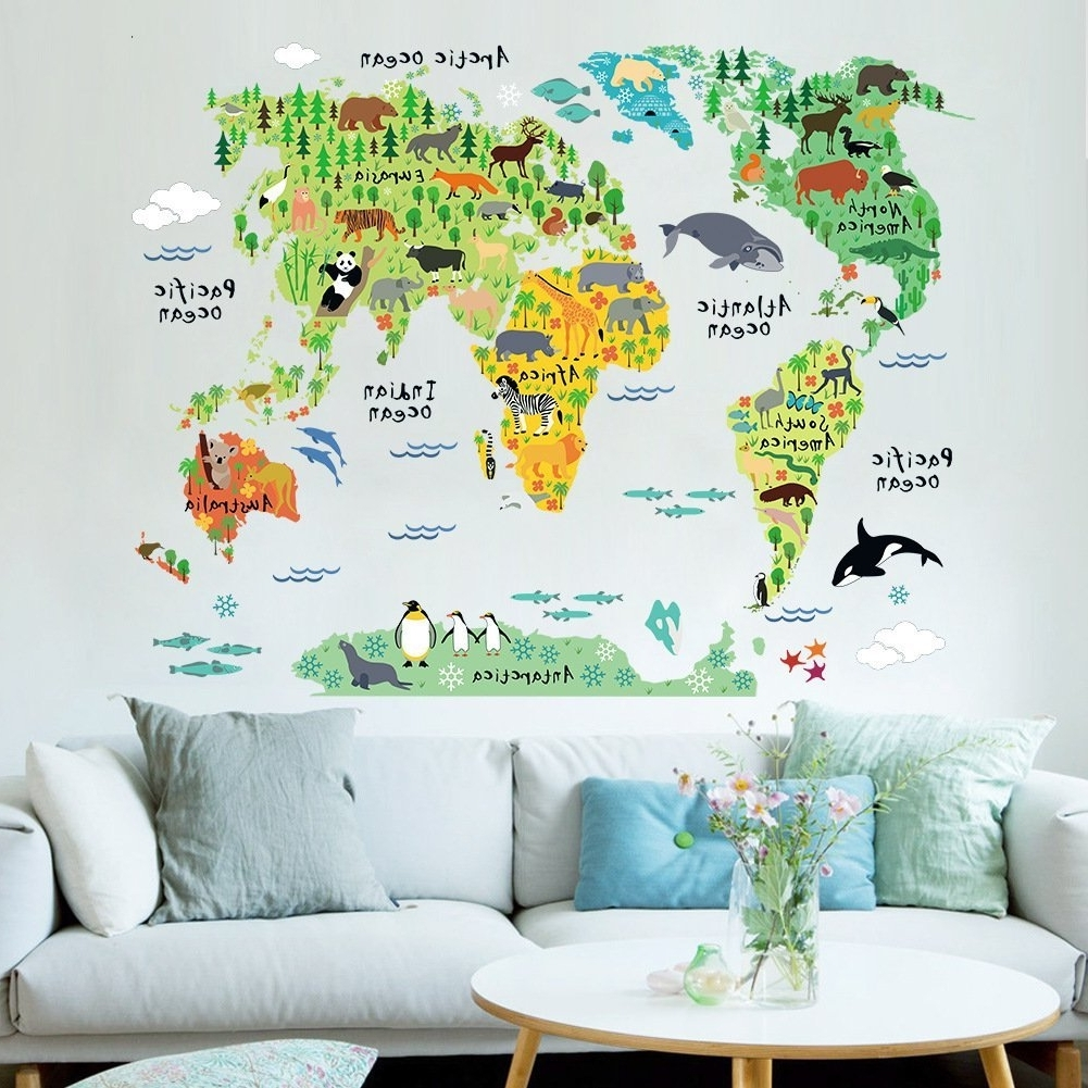 Most Up To Date Amazon: Cartoon Background Colorful English Words World Map Pertaining To World Wall Art (View 11 of 15)