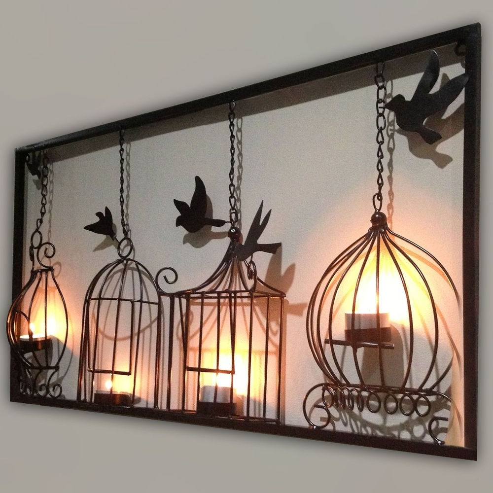 Most Up To Date Birdcage Tea Light Wall Art Metal Wall Hanging Candle Holder Black For 3d Wall Art With Lights (View 2 of 15)