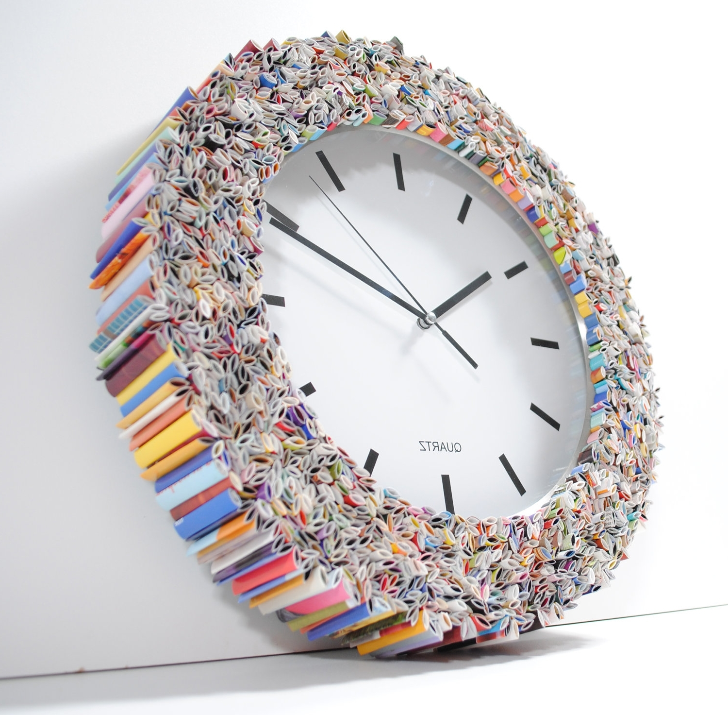 Most Up To Date Clock Wall Art, Made From Recycled Magazines, Colorful, Unique With Regard To Recycled Wall Art (View 9 of 15)