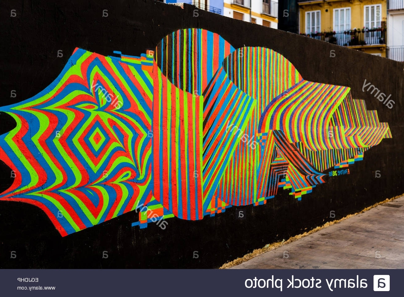 Most Up To Date Colorful Abstract Lines On The Public Wall, Art Or Graffiti Intended For Colorful Abstract Wall Art (View 4 of 15)