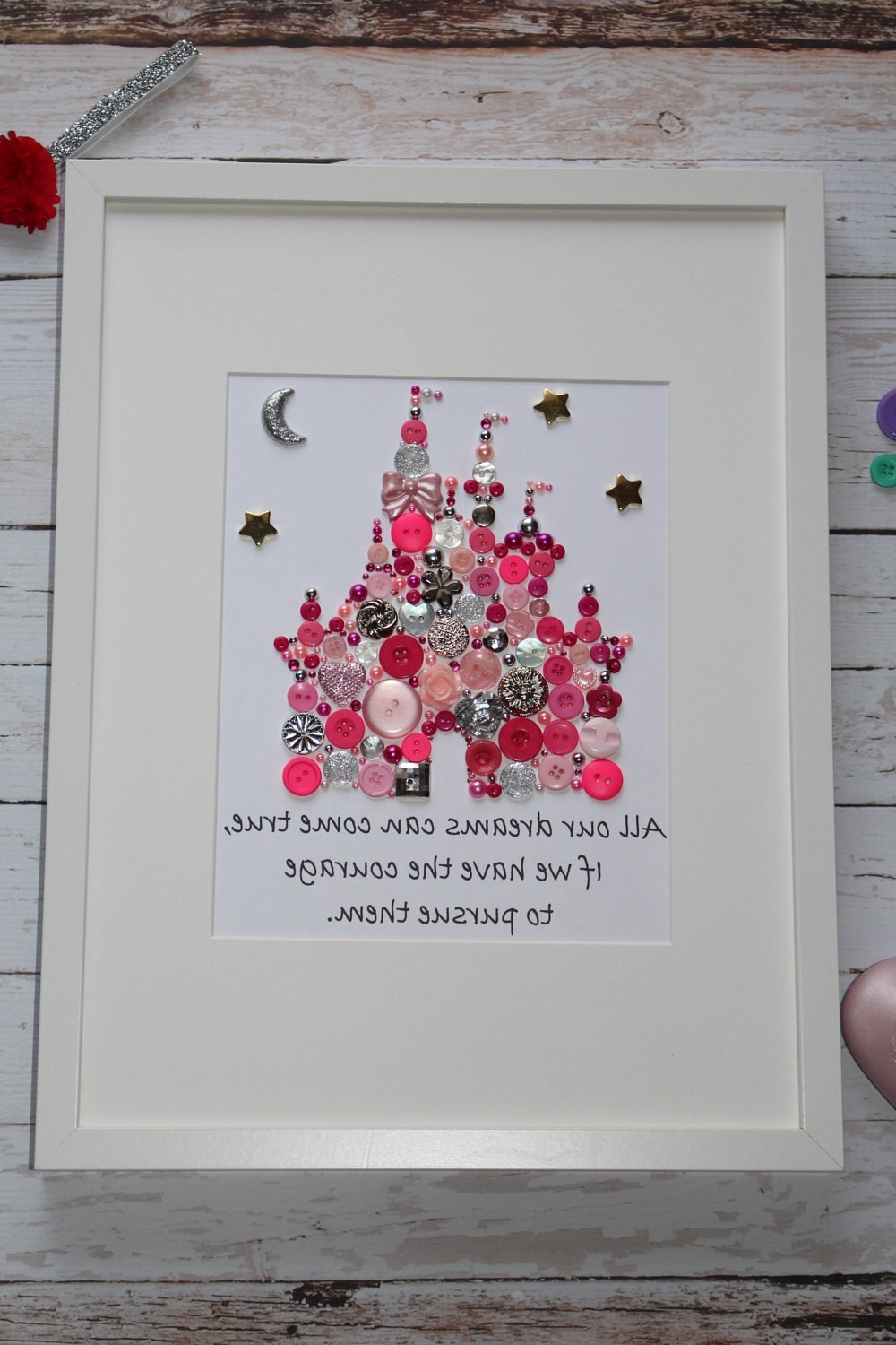 Most Up To Date Disney Princess Framed Wall Art Throughout Personalized Button Picture, Button Art, Castle Art, Castle (View 9 of 15)