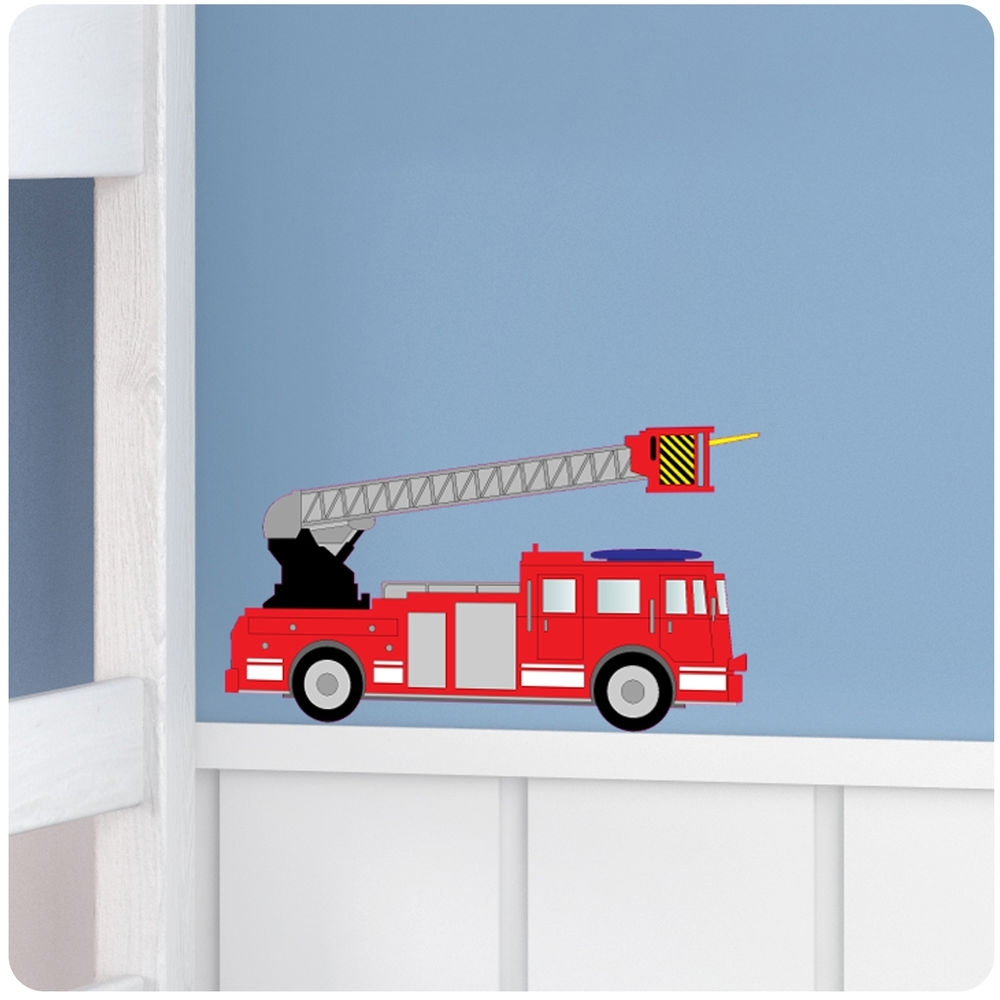 Most Up To Date Fire Engine Nursery Bedroom Vinyl Wall Stickers/decals/mural/decor With Regard To Fire Truck Wall Art (View 2 of 15)