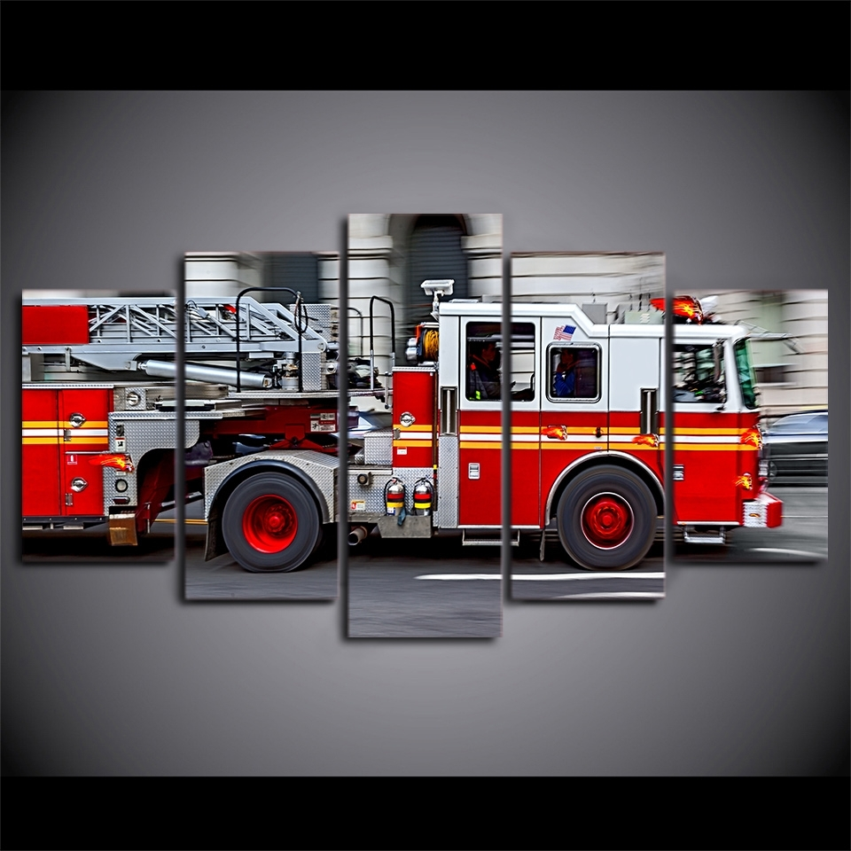 Most Up To Date Fire Truck Wall Art Throughout 5 Piece Canvas Art Hd Printed Fire Engine Canvas Paintings For (View 9 of 15)