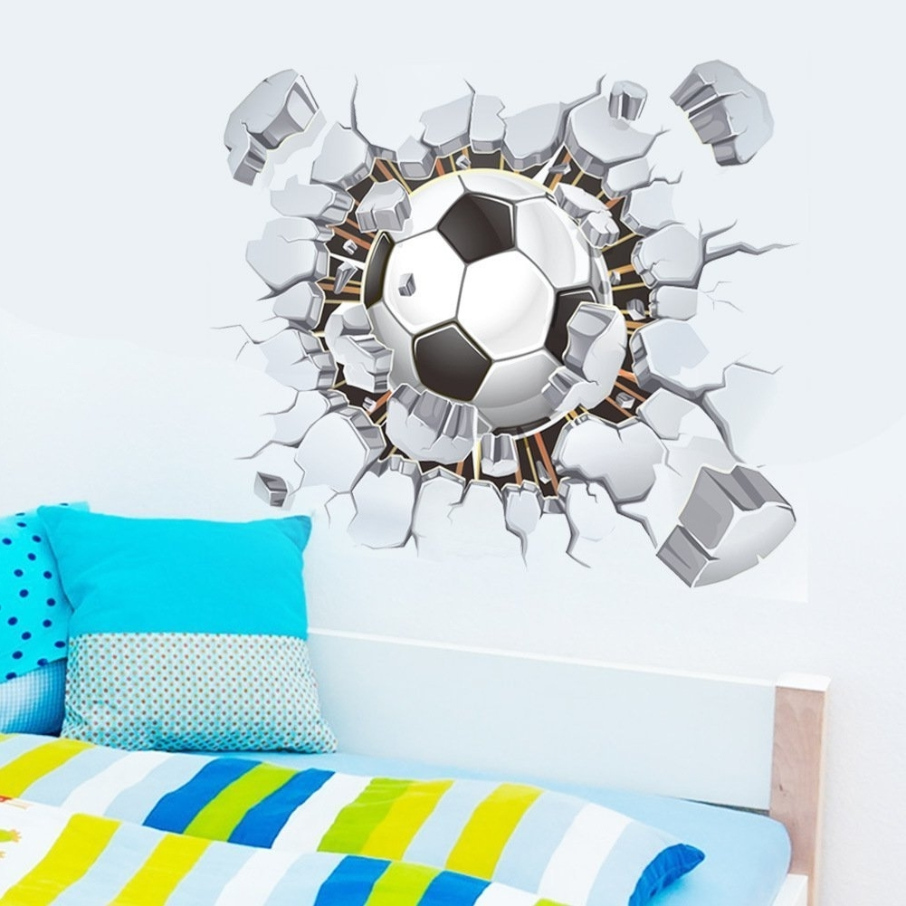 Most Up To Date Football 3D Wall Art Intended For Amazon: Soccer Ball Football Broken 3D Decorative Peel Vinyl (View 10 of 15)
