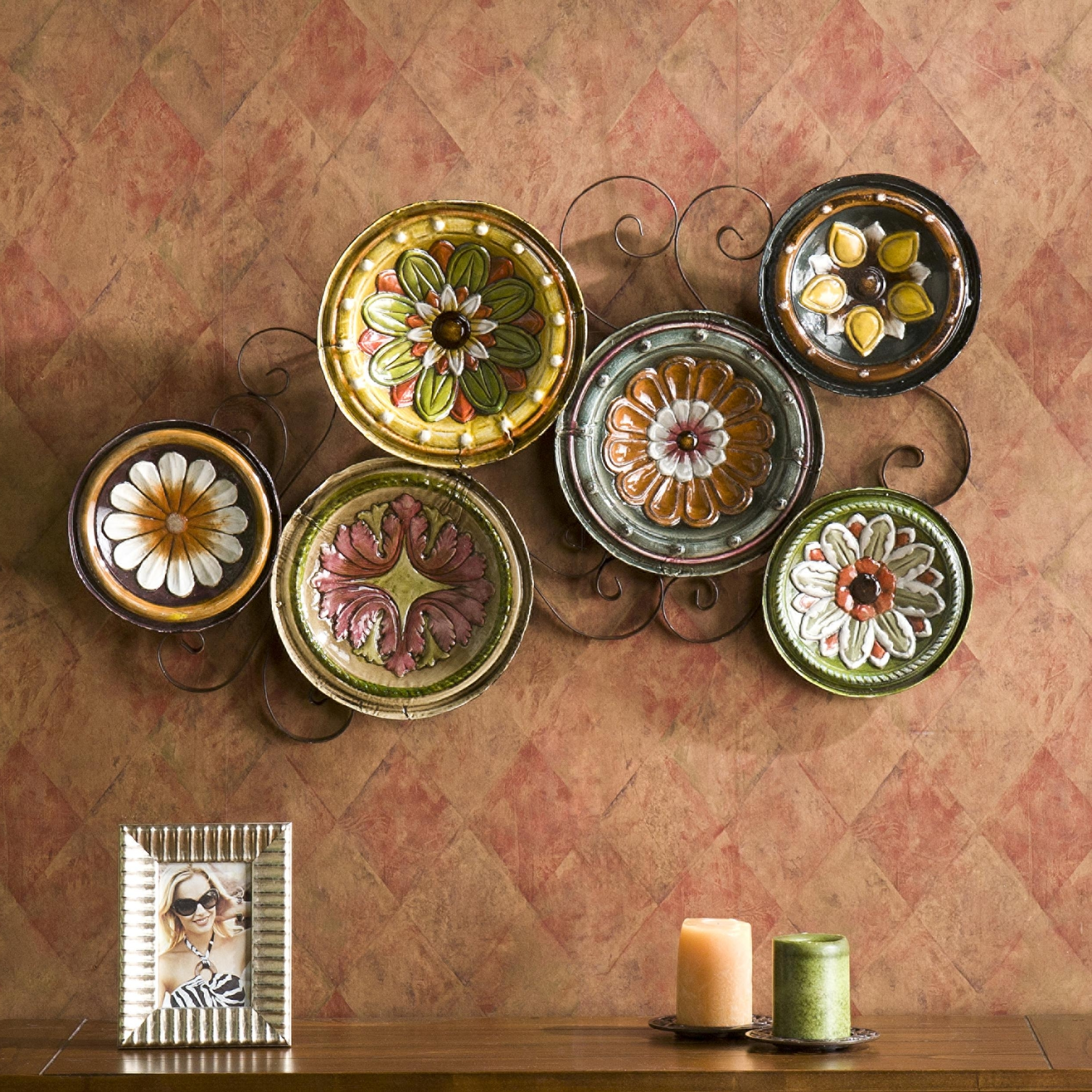 Most Up To Date Italian Inspired Wall Art With 48 Plates As Wall Decor, Benzara 13925 Classic Metal Plates Wall (View 7 of 15)