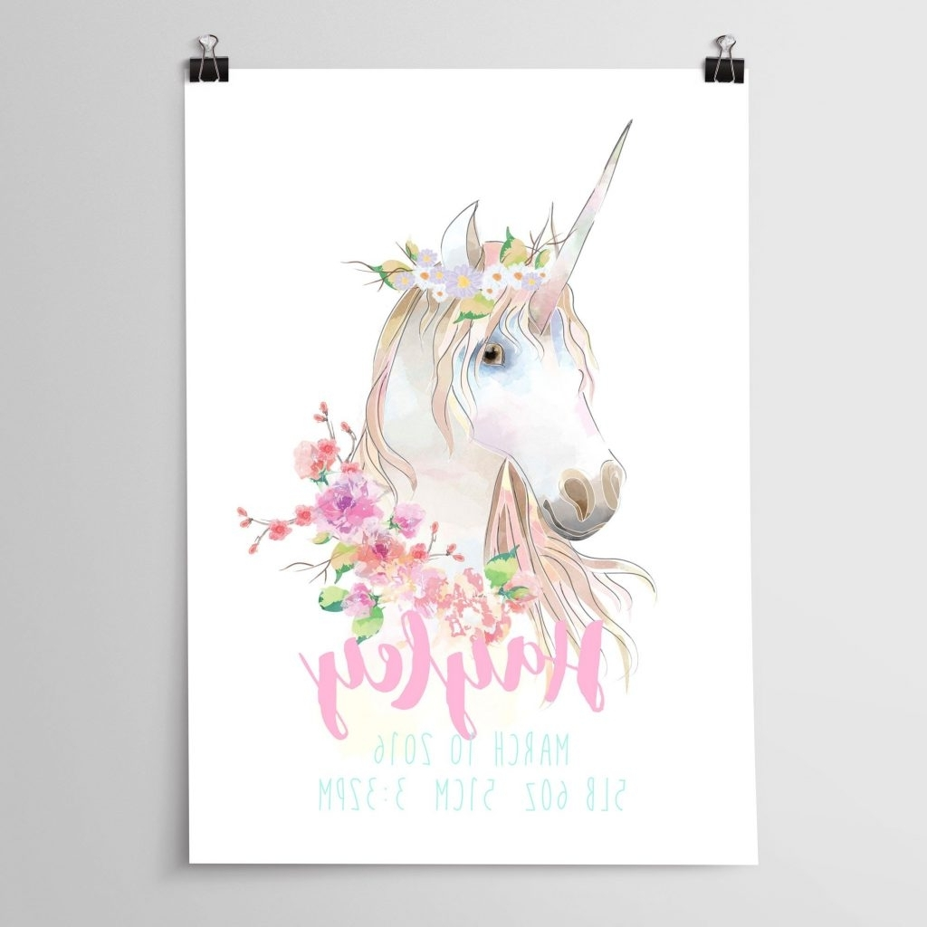 Most Up To Date Joyous Unicorn Wall Art With Girls Nursery Or Bedroom Print Throughout 3D Unicorn Wall Art (View 10 of 15)