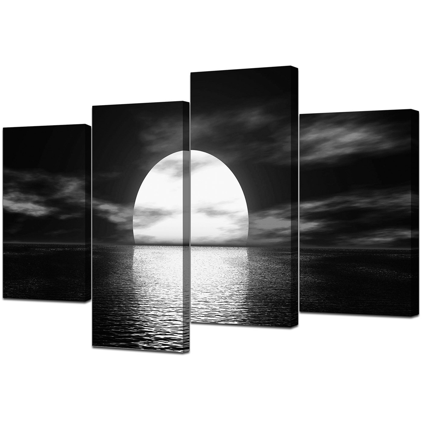 Most Up To Date Large Black And White Wall Art Intended For Black And White Canvas – Ocean Sunset Canvas Wall Art (View 4 of 15)