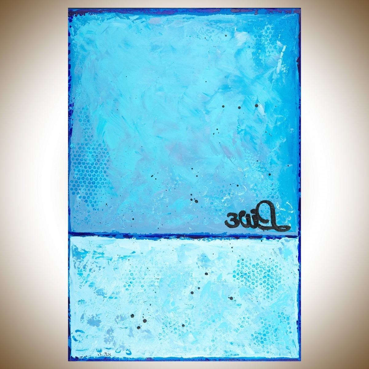 "Most Up To Date Liveqiqigallery 36""x24"" Original Modern Abstract Wall With Turquoise And Black Wall Art (View 9 of 15)"