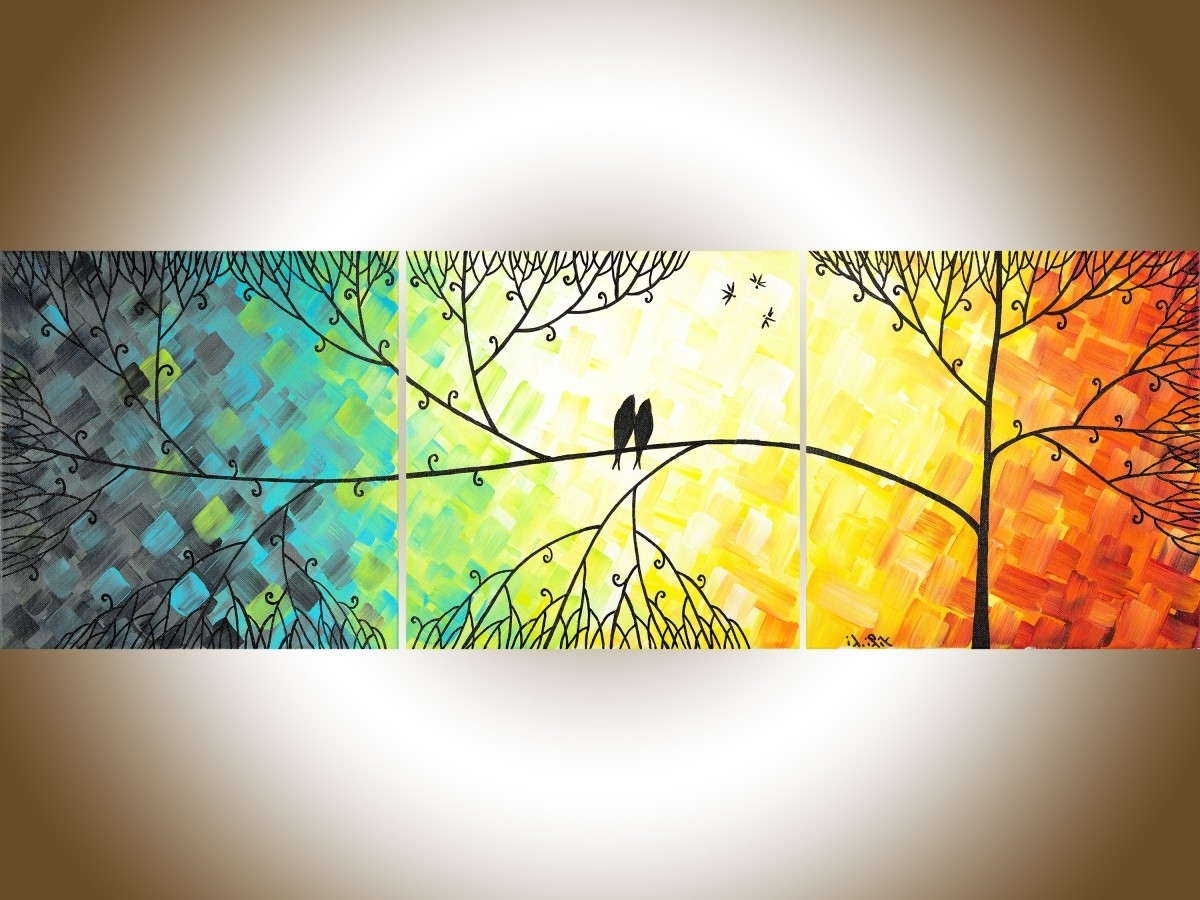 "Most Up To Date Love And Romanceqiqigallery 36""x12"" Original Tree And Love In Yellow And Blue Wall Art (View 4 of 15)"