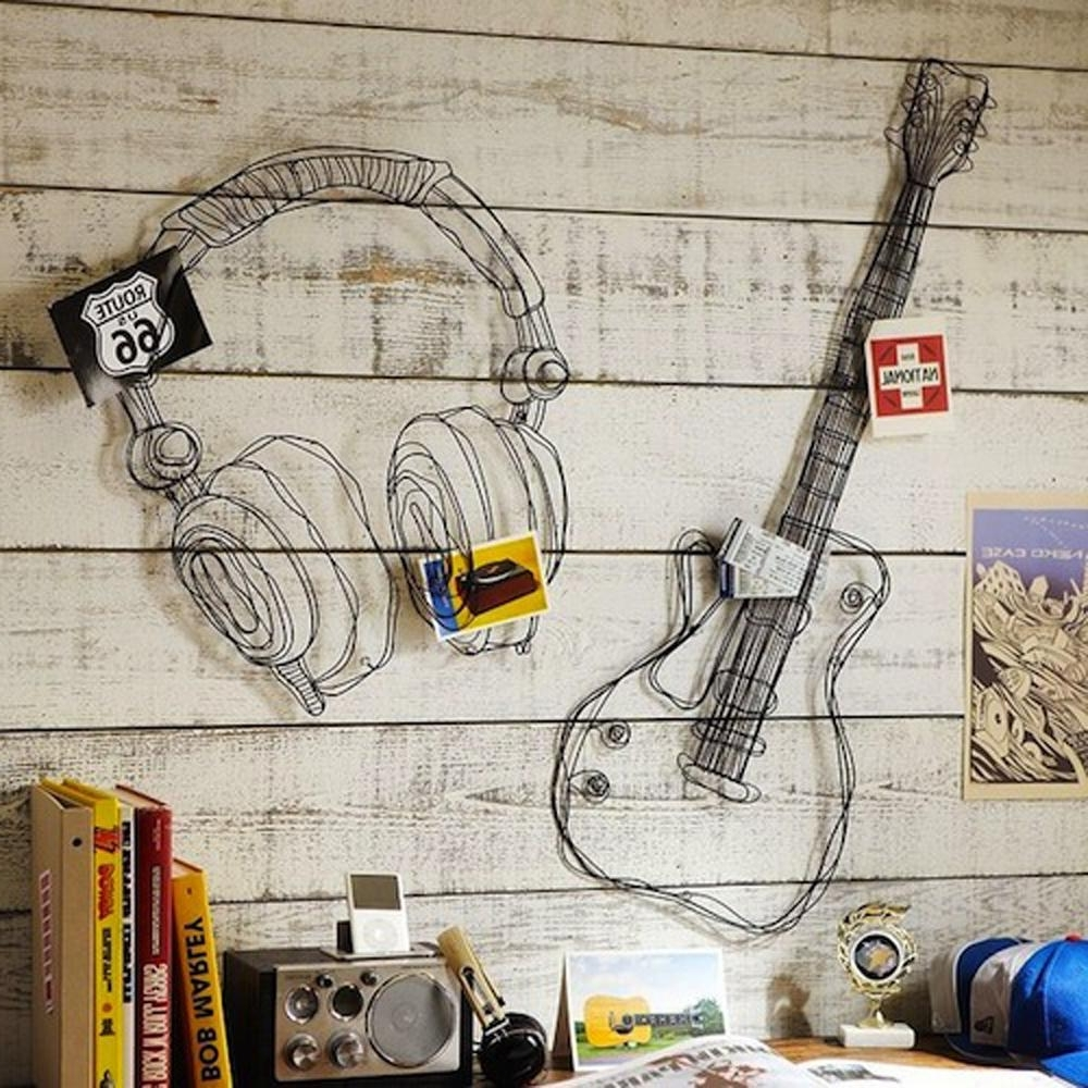 Most Up To Date Metal Wire Guitar Wall Decor Art Music Wall Sculpture Wire Headset Intended For Guitar Metal Wall Art (View 11 of 15)