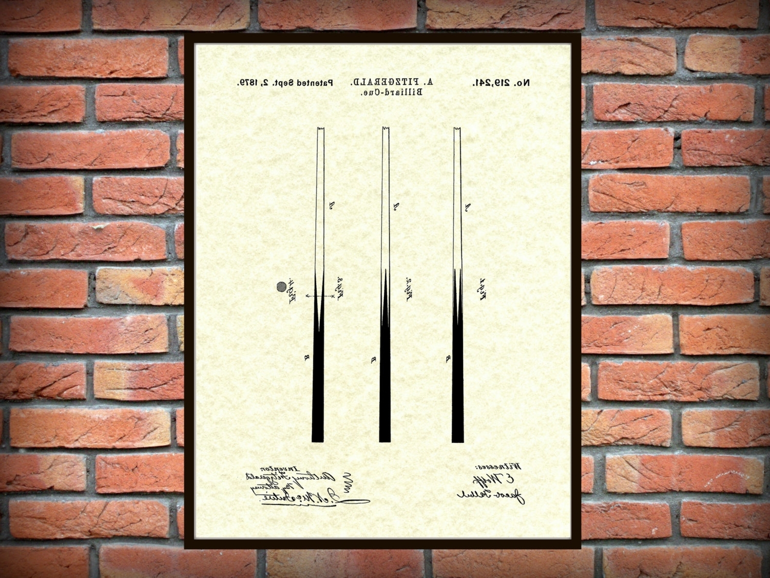 Most Up To Date Patent 1879 Billiard Cue Patent Art Print – Poster Print – Drawing Regarding Billiard Wall Art (View 11 of 15)