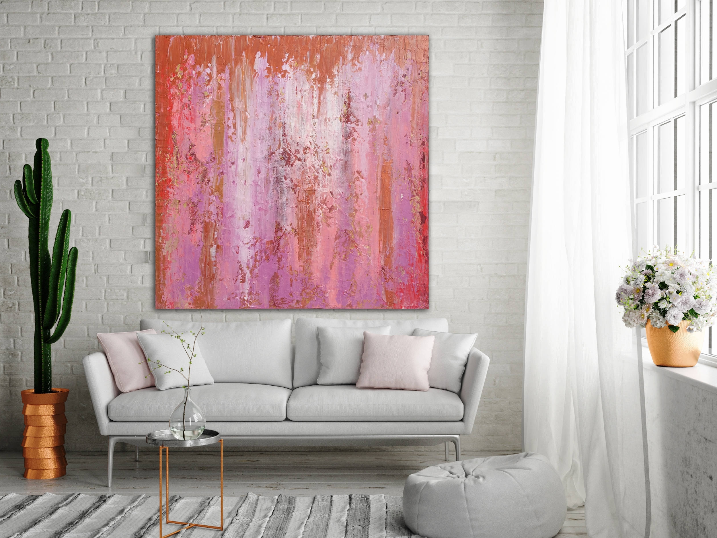 Most Up To Date Pink Abstract Wall Art For Abstract Painting Custom Unstretched Xlarge Canvas Art Oversized (View 8 of 15)