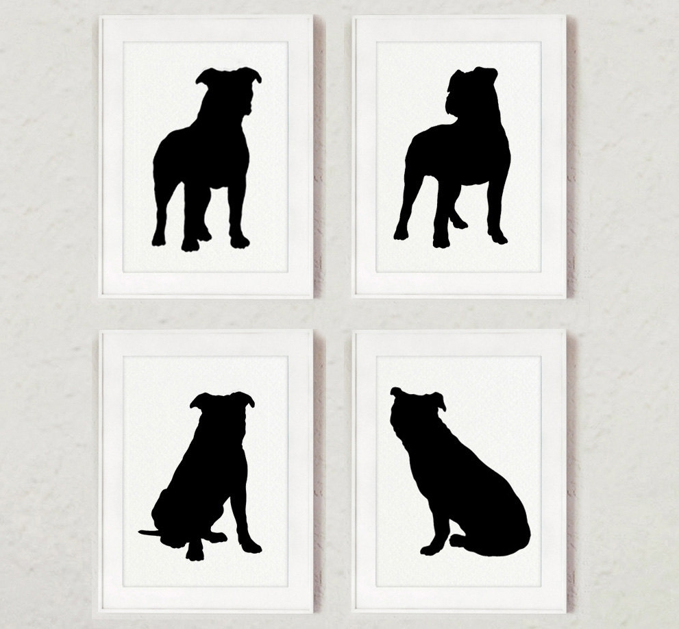 Most Up To Date Pitbull Wall Art For Pitbull Set Of 4, Dog Home Decor, Pit Bull Silhouette, Ink (View 7 of 15)