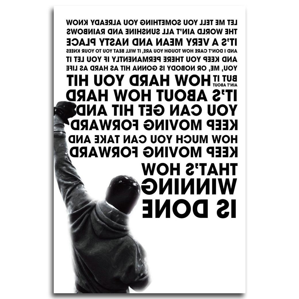 Most Up To Date Rocky Balboa Wall Art With Regard To Rocky Balboa Motivational Quote Art Silk Poster Print (View 6 of 15)