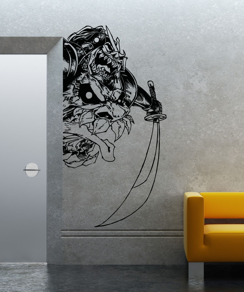 Most Up To Date Samurai Wall Art Intended For Wall Art Design Ideas: Creative Decal Samurai Wall Art Black Color (View 3 of 15)