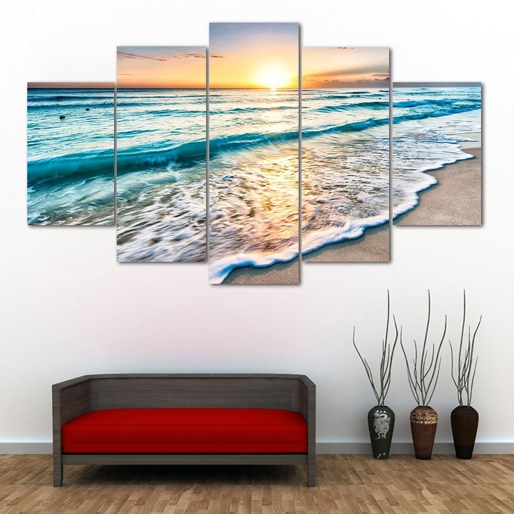 Most Up To Date Split Wall Art In 2018 Wall Art Sunset Beach Print Split Canvas Paintings Colormix (View 10 of 15)