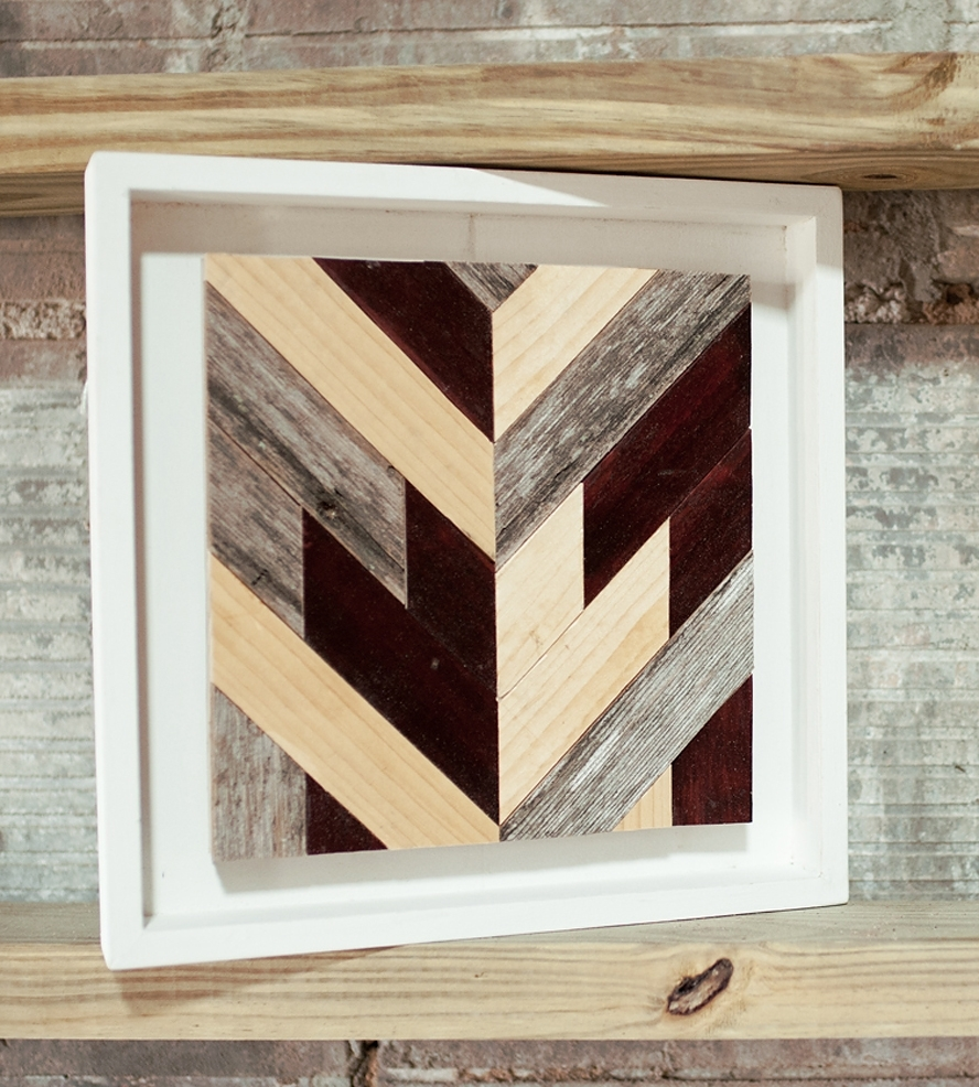 Most Up To Date Stained Wood Wall Art In Chevron Wood Wall Art – Square (View 11 of 15)