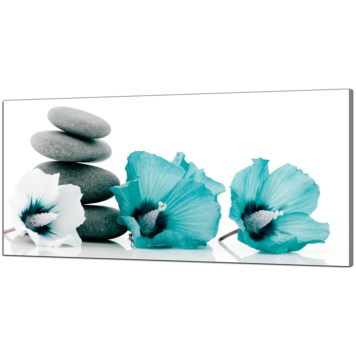 Most Up To Date Teal Wall Art Uk For Large Teal And Grey Canvas Pictures Of Flowers And Pebbles (View 6 of 15)