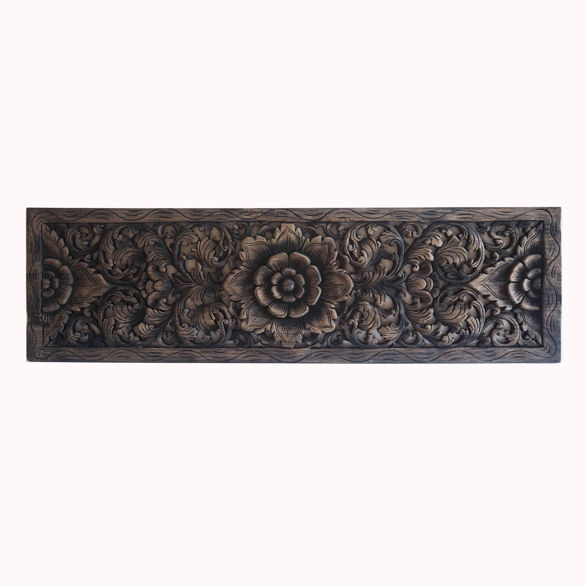 Most Up To Date Thai Lotus Wood Carving Wall Art Panel – Siam Sawadee Inside Asian Wall Art Panels (View 14 of 15)