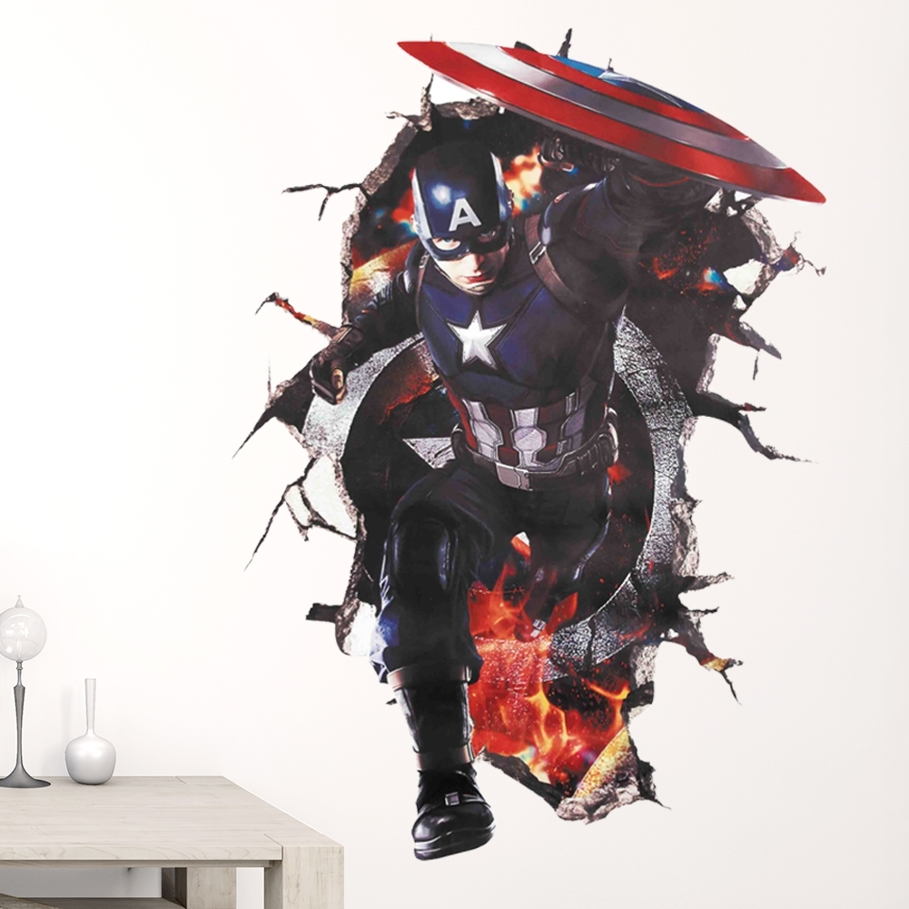 Most Up To Date The Captain America Avengers Superheroes 3d Through Wall Stickers Pertaining To Captain America 3d Wall Art (View 12 of 15)