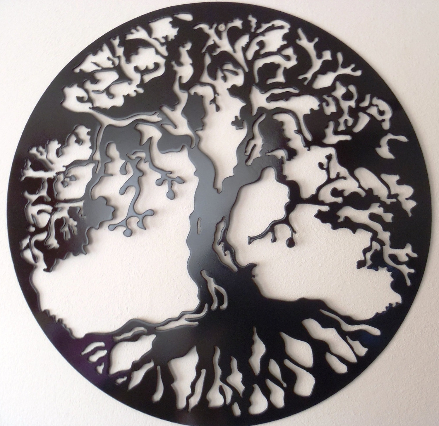 Most Up To Date Tree Of Life, Large Wall Decor, Metal Art – Black. $ (View 9 of 15)