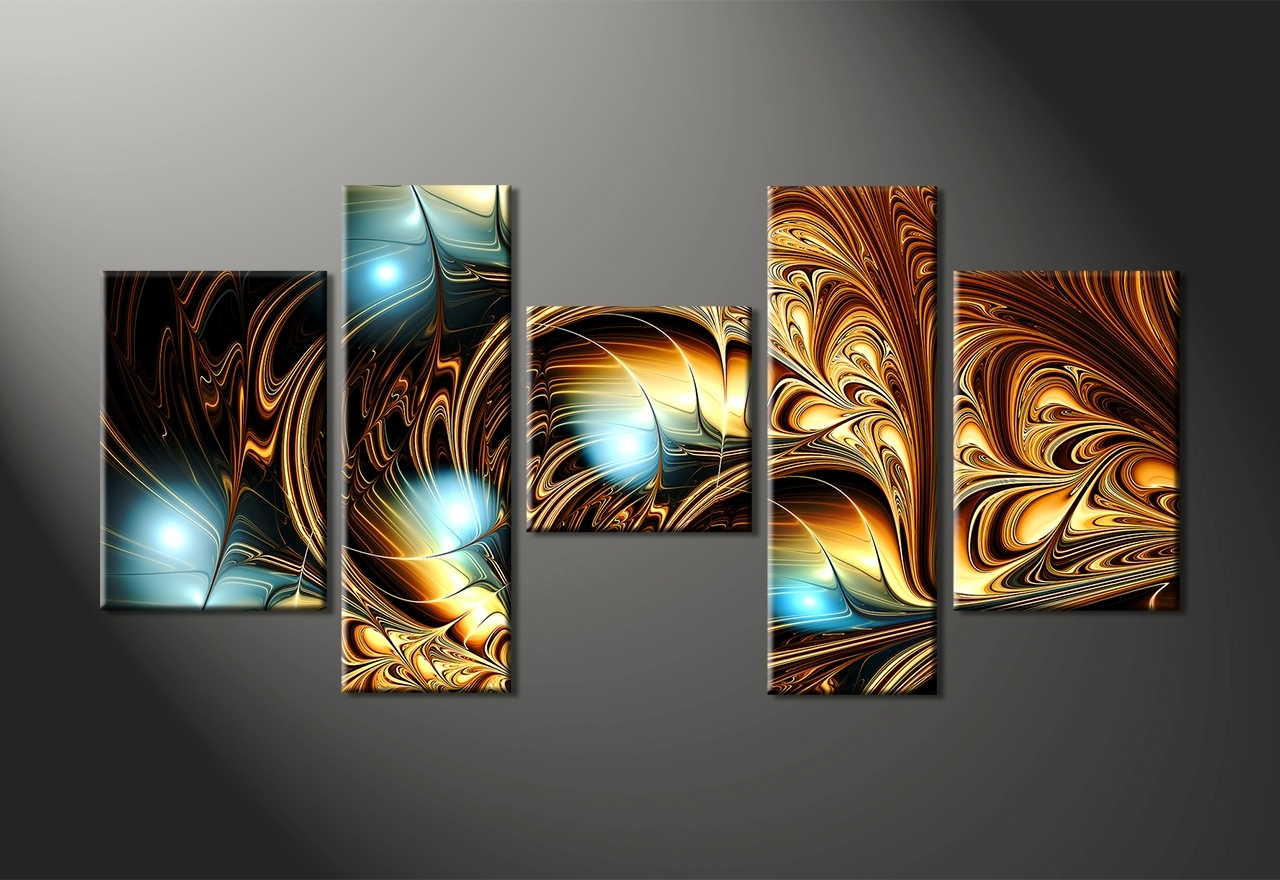 Most Up To Date Wall Art Design: Multi Panel Canvas Wall Art Gold Blue Beautiful Regarding Multi Panel Canvas Wall Art (View 5 of 15)