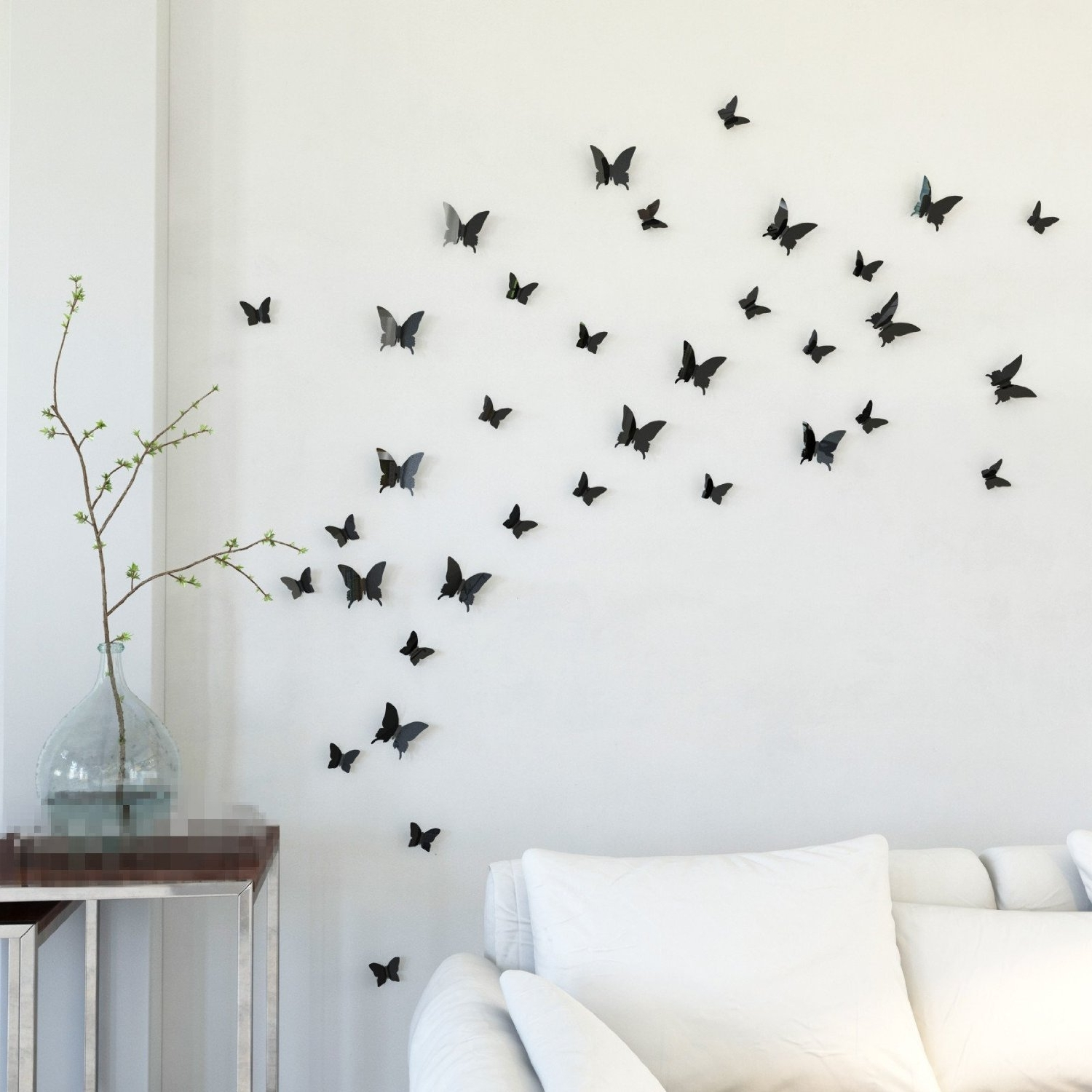 Most Up To Date White Birds 3D Wall Art In Creative Idea : Living Room Decor With White Sofa And Indoor Plant (View 8 of 15)