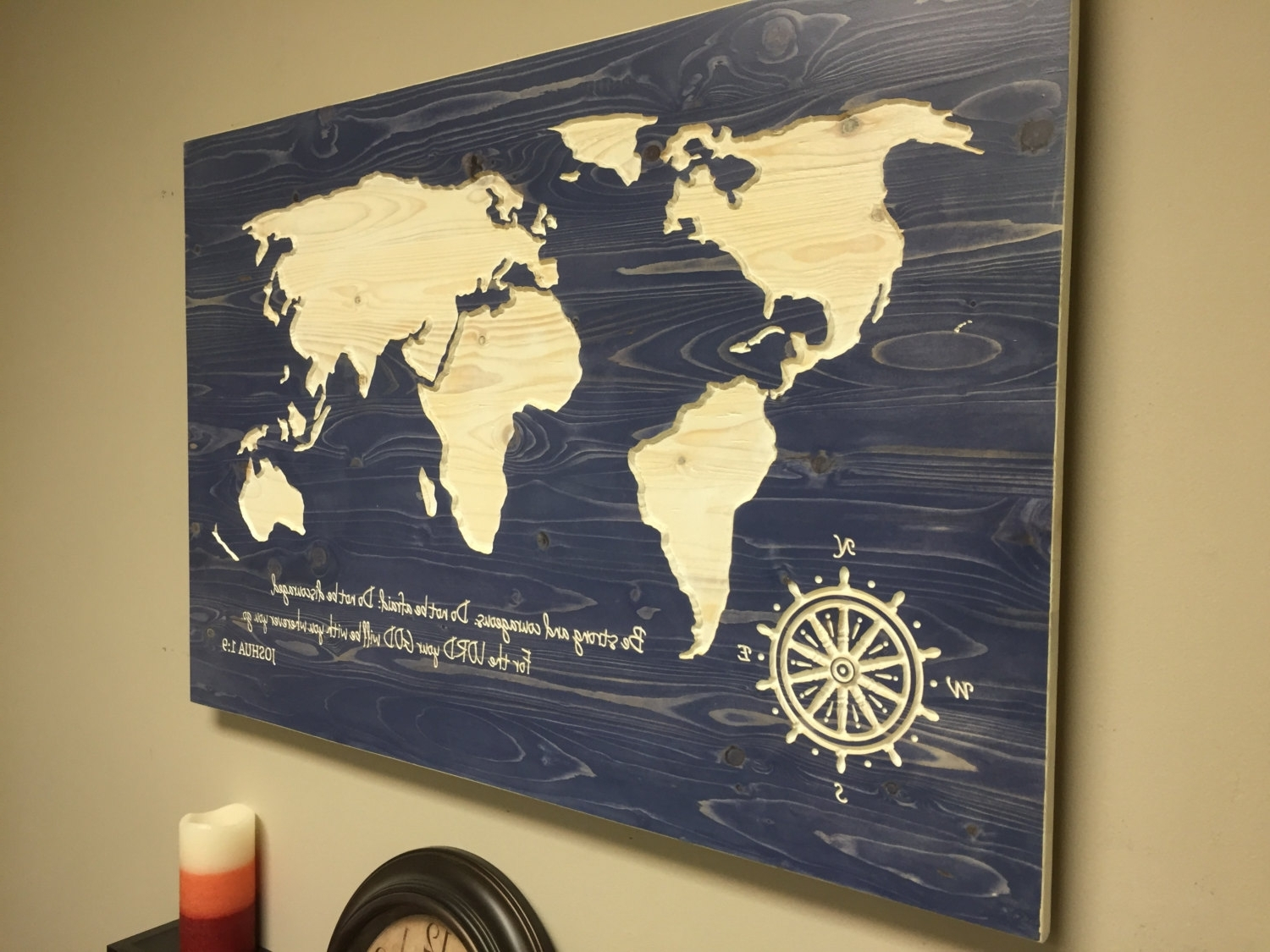 2018 Latest World Map Wood Wall Art