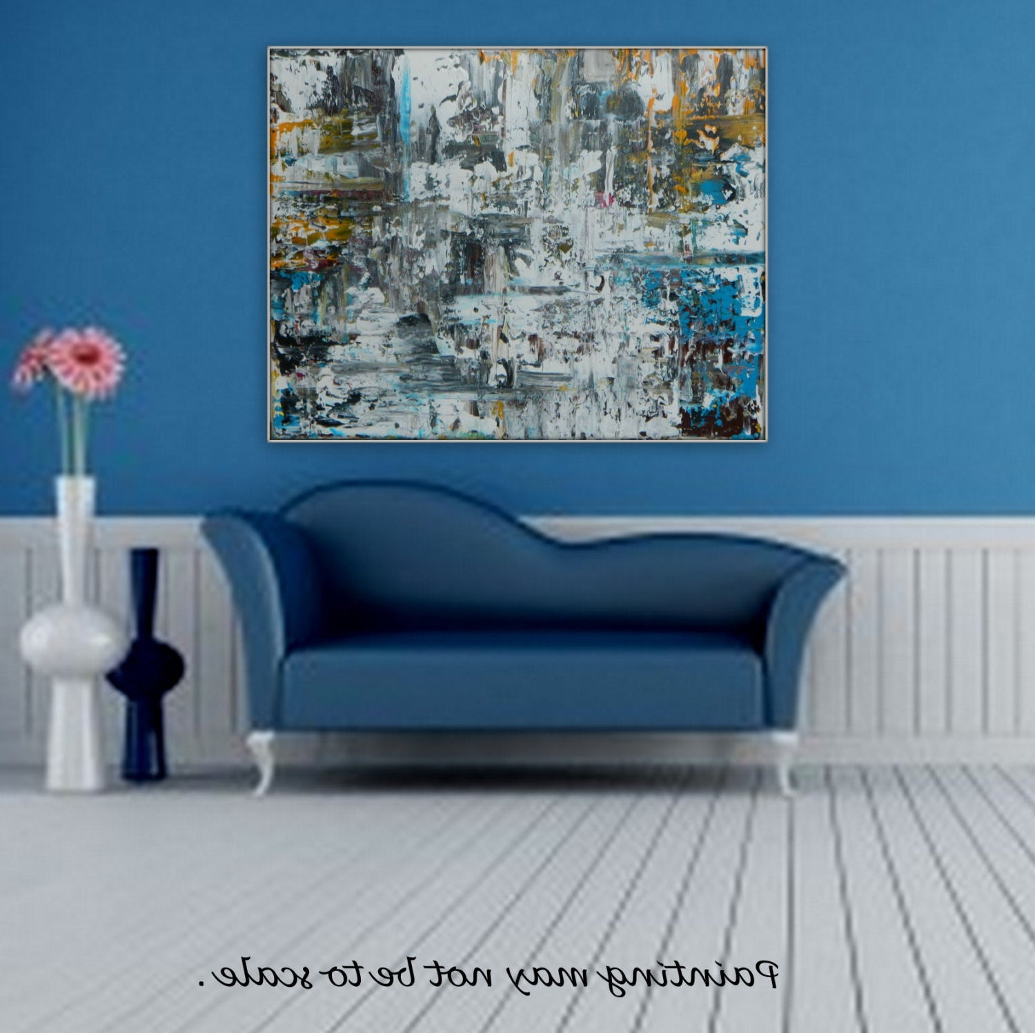 Most Up To Date Yellow And Blue Wall Art Inside Large Original Acrylic Painting Color Black White Blue Yellow (View 5 of 15)