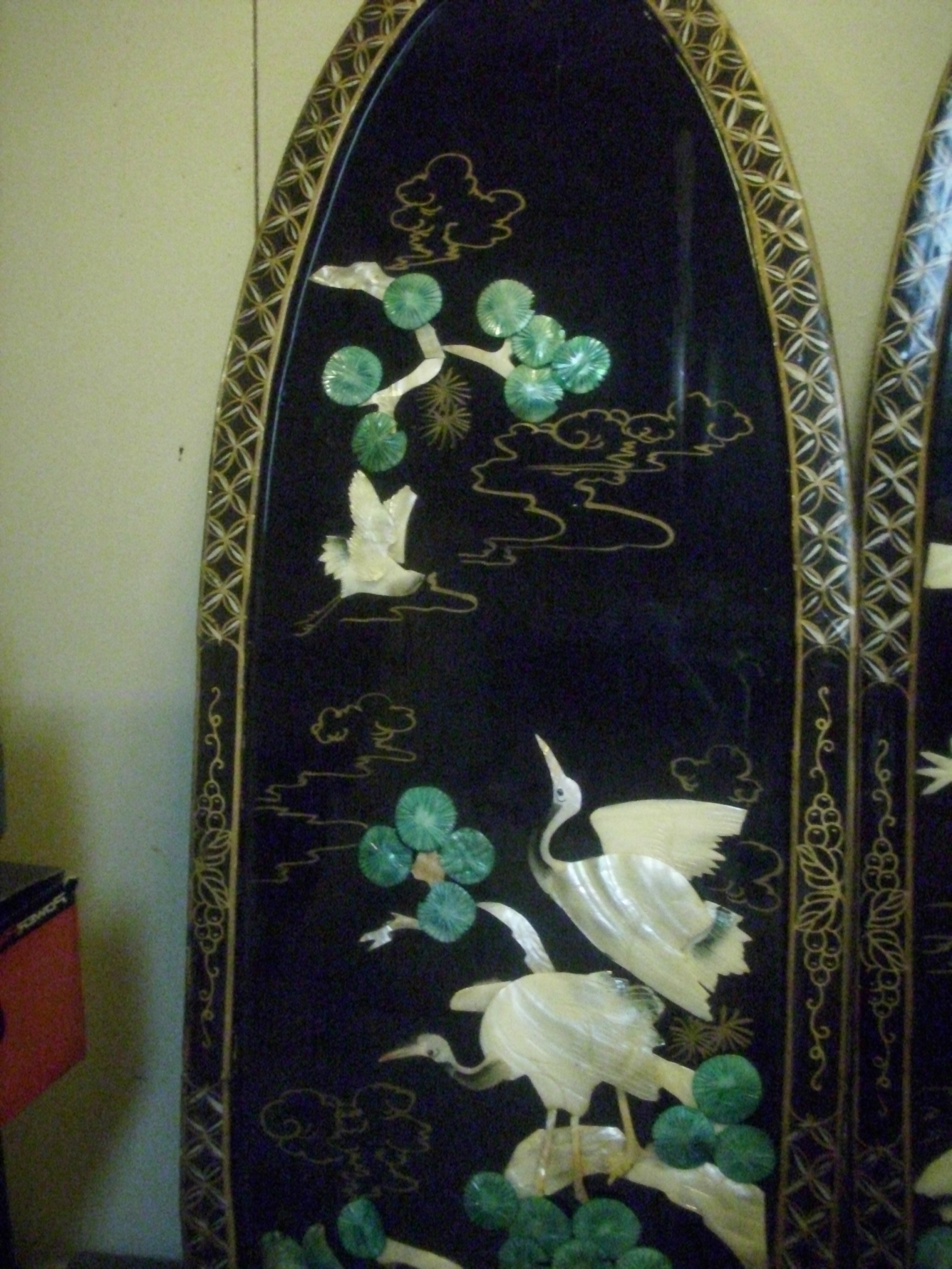 Mother Of Pearl Wall Art Inside Preferred Vintage Black Lacquered Chinese Carved Shell Mother Of Pearl Wall (View 10 of 15)