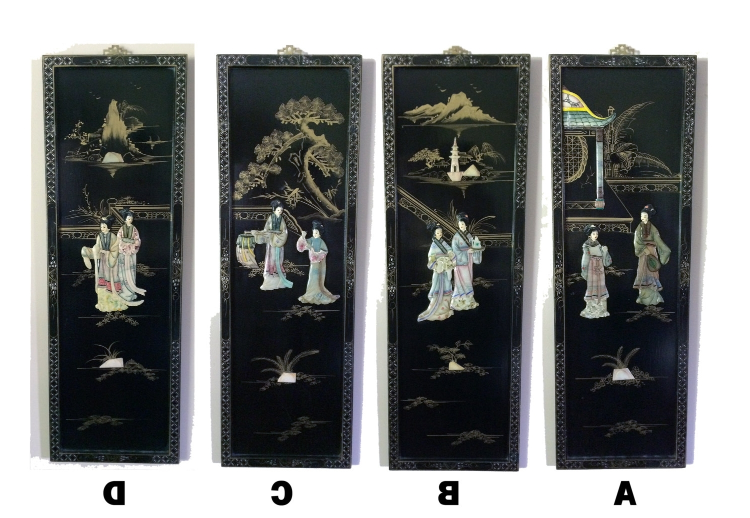 Mother Of Pearl Wall Art With 2017 Vintage Or Antique Asian Black Lacquer Mother Of Pearl Wood Women (View 9 of 15)