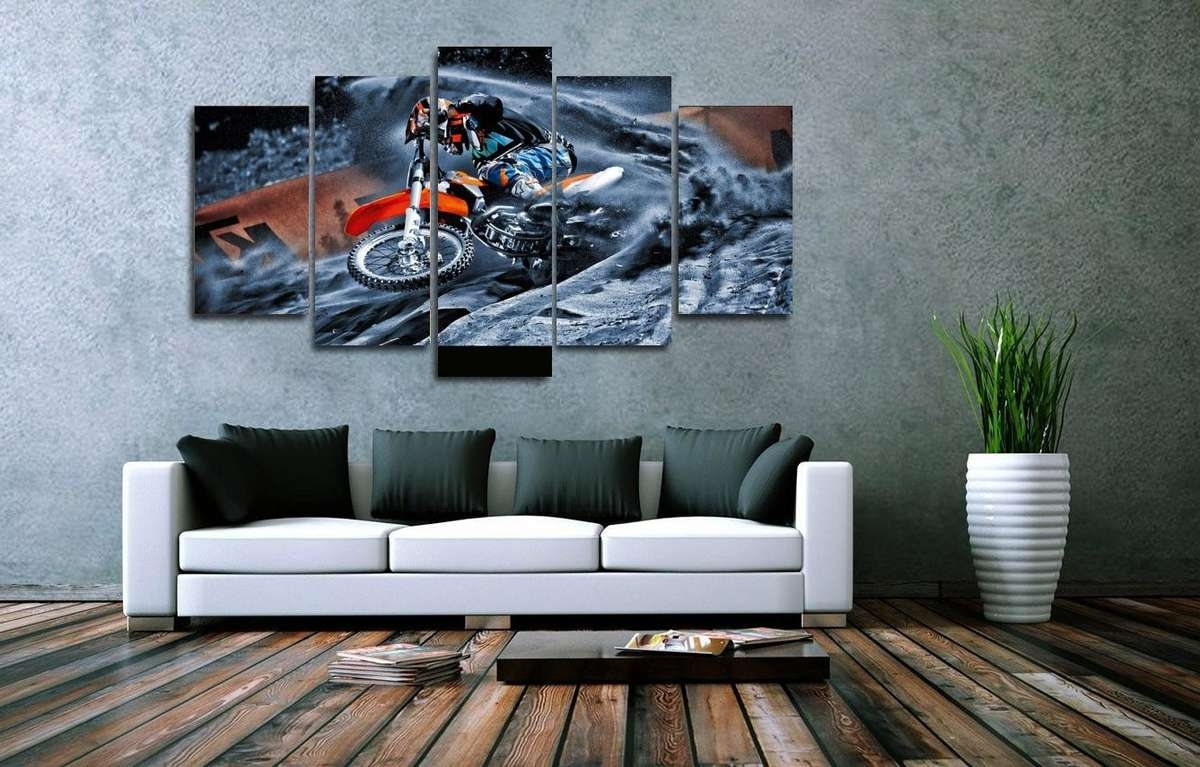 Motocross Supercross Dirt Bike Spinning Out Multi Panel Canvas Throughout Most Up To Date Multi Panel Canvas Wall Art (View 6 of 15)