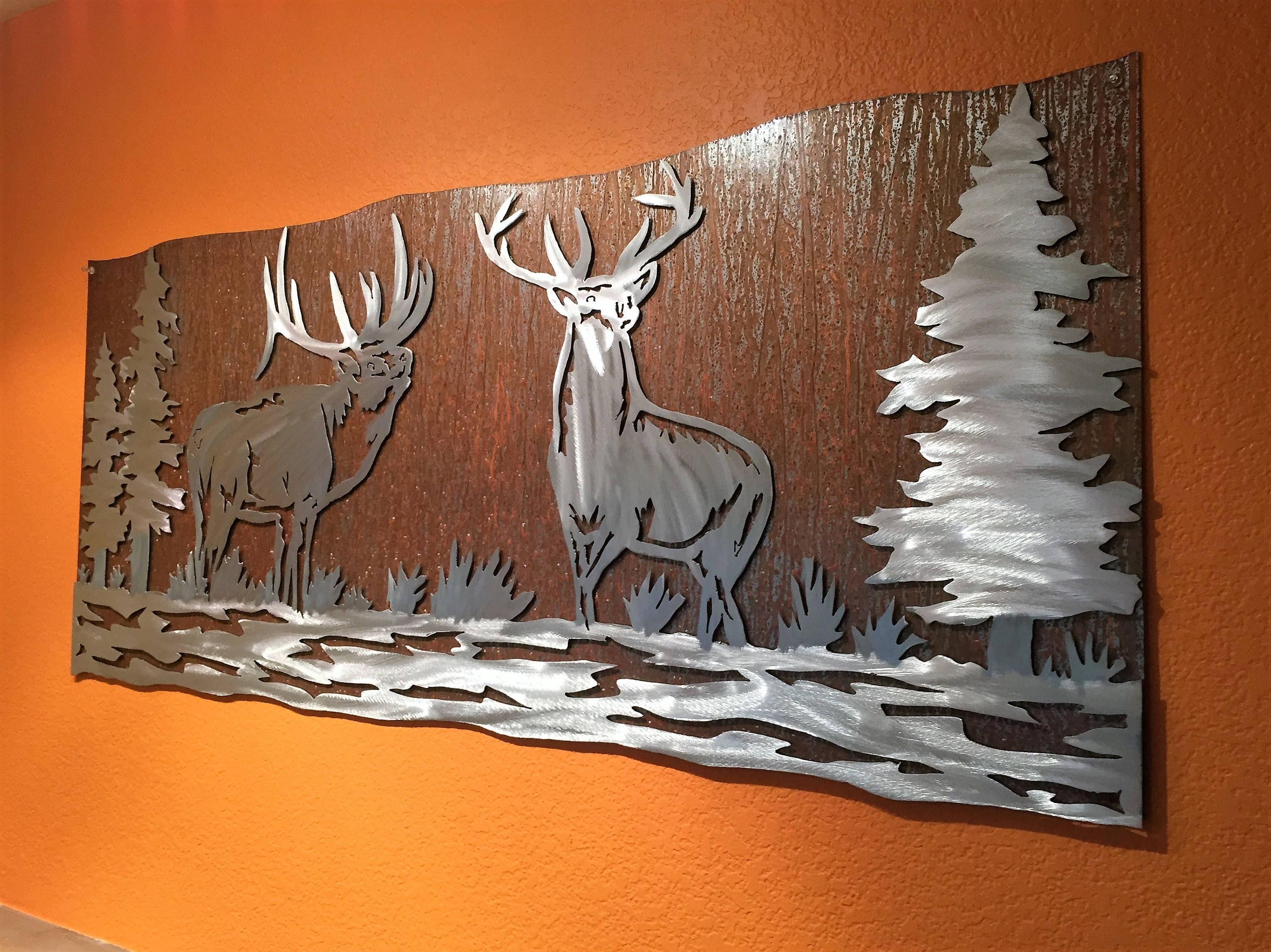 Mountain Scene Metal Wall Art Inside Favorite Elk Artwork (View 10 of 15)
