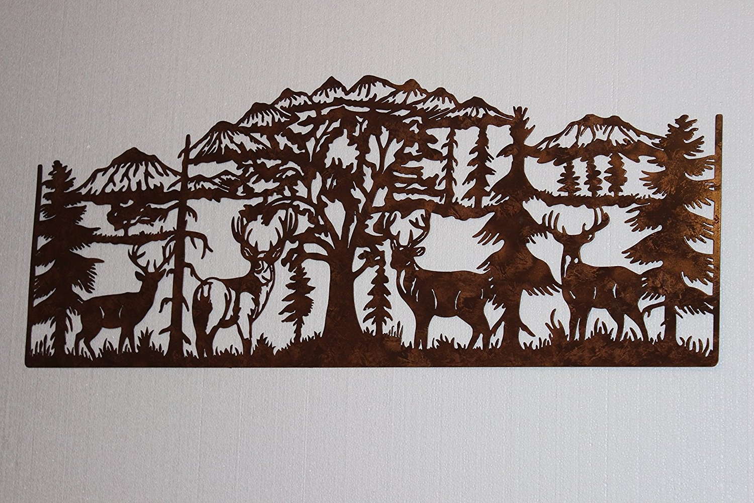 Mountain Scene Metal Wall Art With Regard To Trendy Amazon: Deer And Mountain Scene With 4 Majestic Bucks Large (View 12 of 15)
