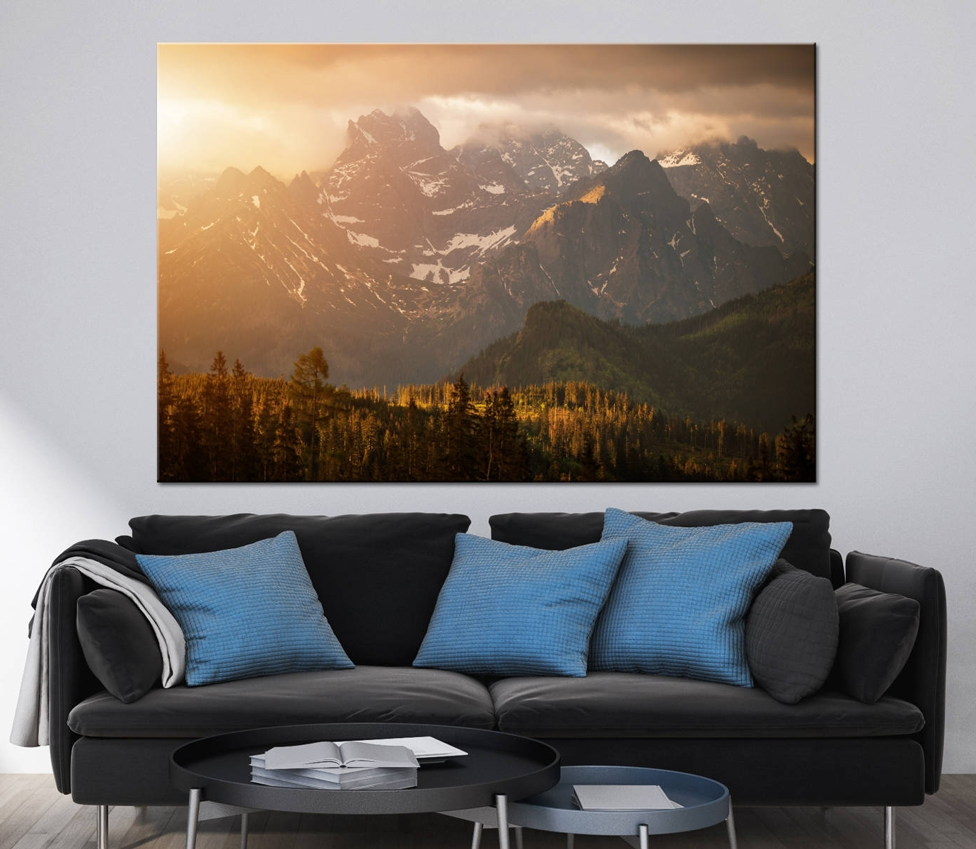 Mountains Sunset Scenery Photoprint Multi Panel Canvas Print Wild For Most Current Extra Large Wall Art Prints (View 7 of 15)