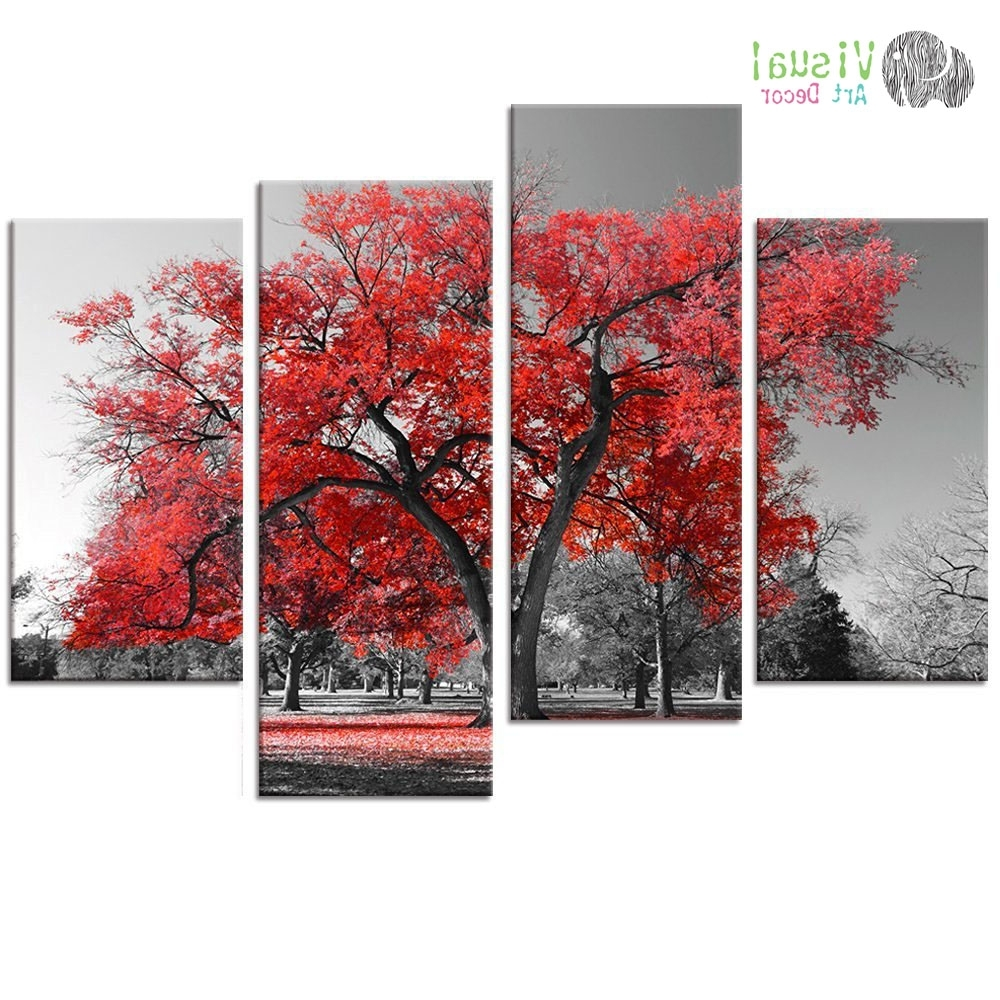 Multi Panels Landscape Canvas Wall Art Maple Tree Forest Painting Pertaining To Best And Newest Red And Black Canvas Wall Art (View 8 of 15)