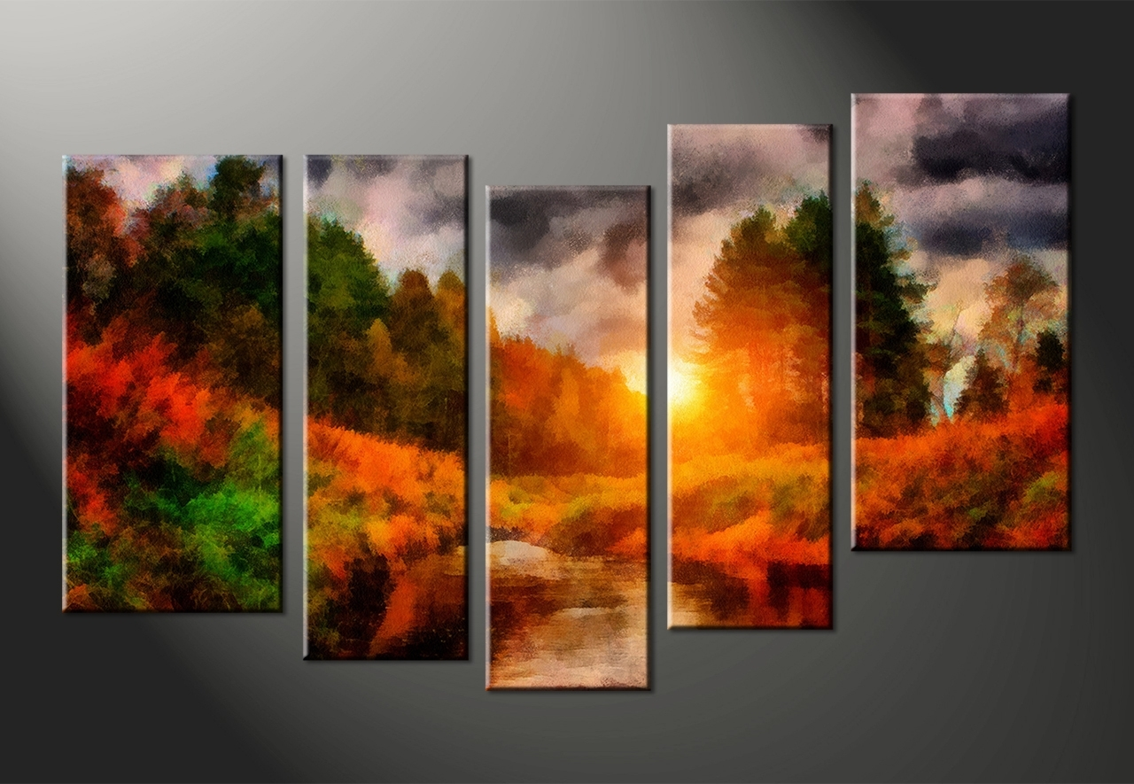Multi Piece Canvas Wall Art Pertaining To Most Recently Released Wall Art: Glamorous Multi Panel Canvas Art Multi Panel Art, Multi (View 5 of 15)