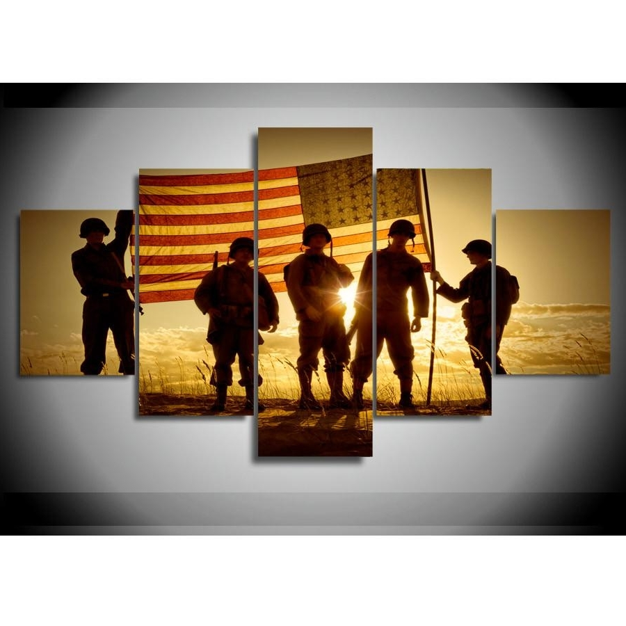 Multiple Panel Wall Art With Regard To Newest Soldiers With The American Flag Wall Art Multi Panel Canvas (View 13 of 15)