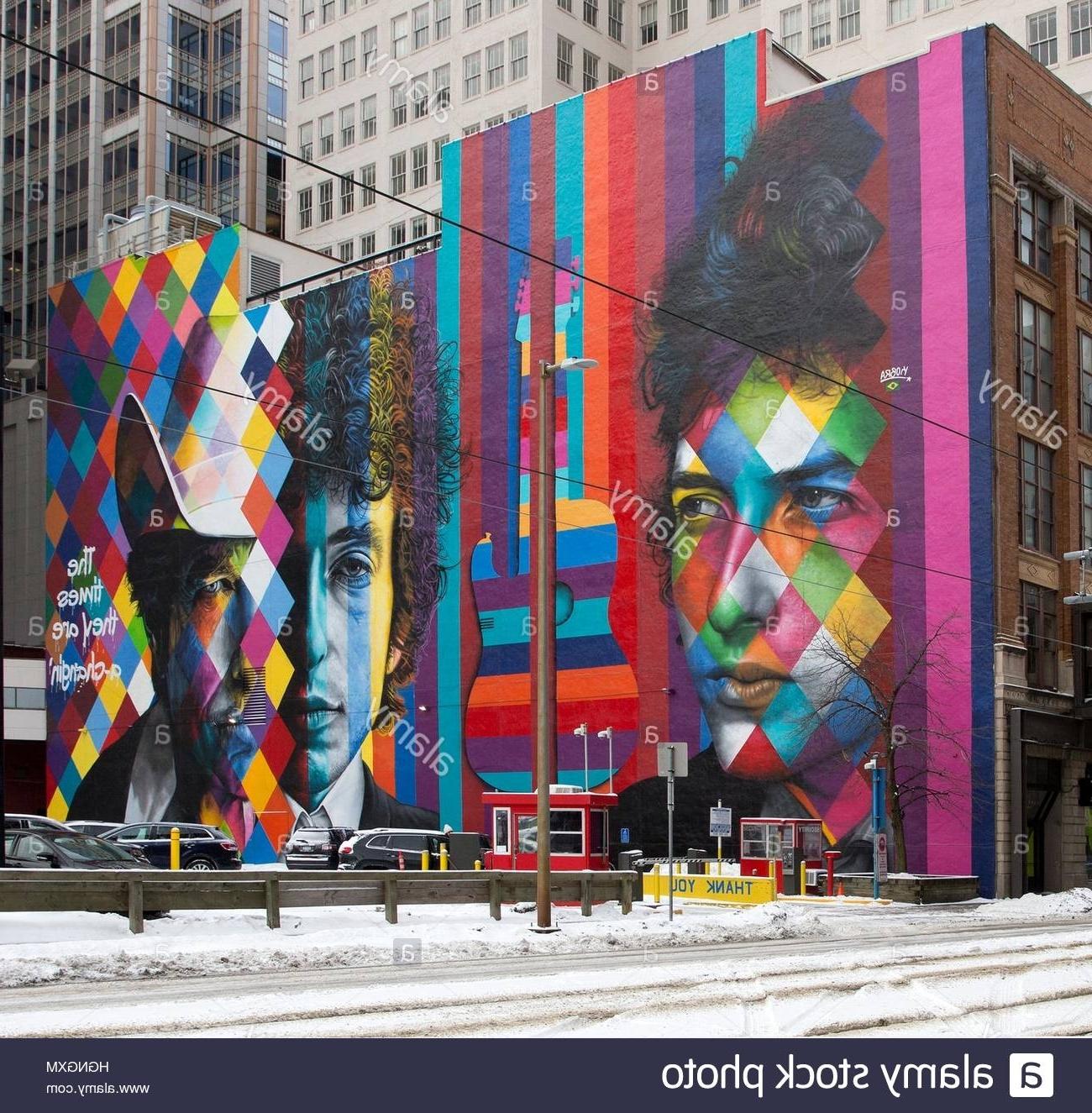 Mural Of Bob Dylanbrazilian Artist Eduardo Kobra In Downtown Pertaining To Famous Minneapolis Wall Art (View 12 of 15)