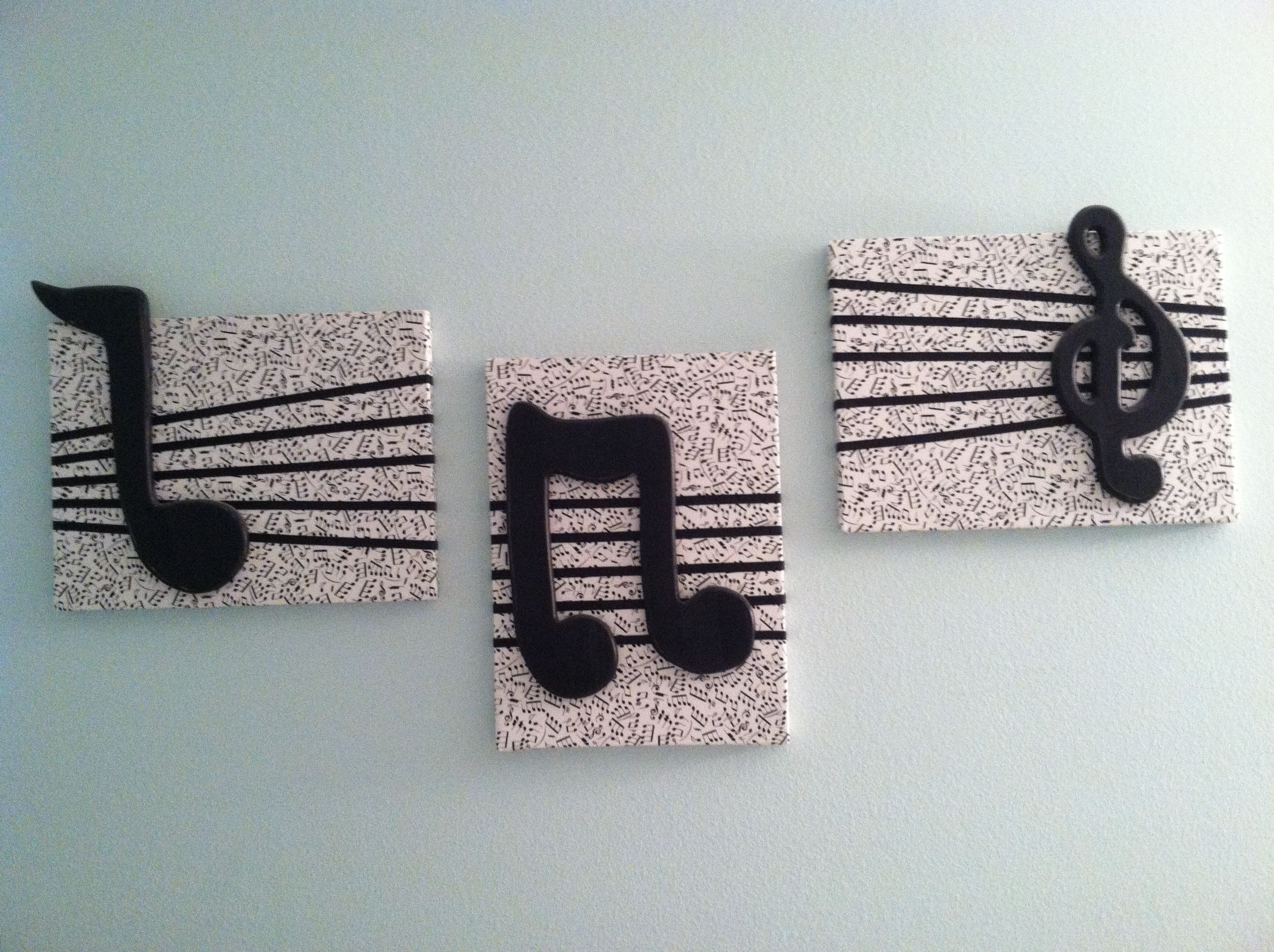Music Note Wall Art Decor With 2018 Diy Wall Decor Cover Canvas Squares With Music Note Fabric, Add (View 13 of 15)
