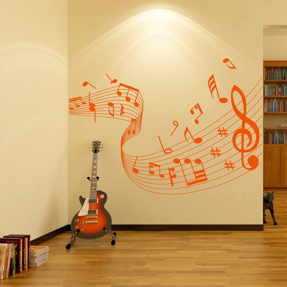 Music Note Wall Art Intended For Widely Used Musical Note Score Wall Stickers Music Wall Art (View 7 of 15)