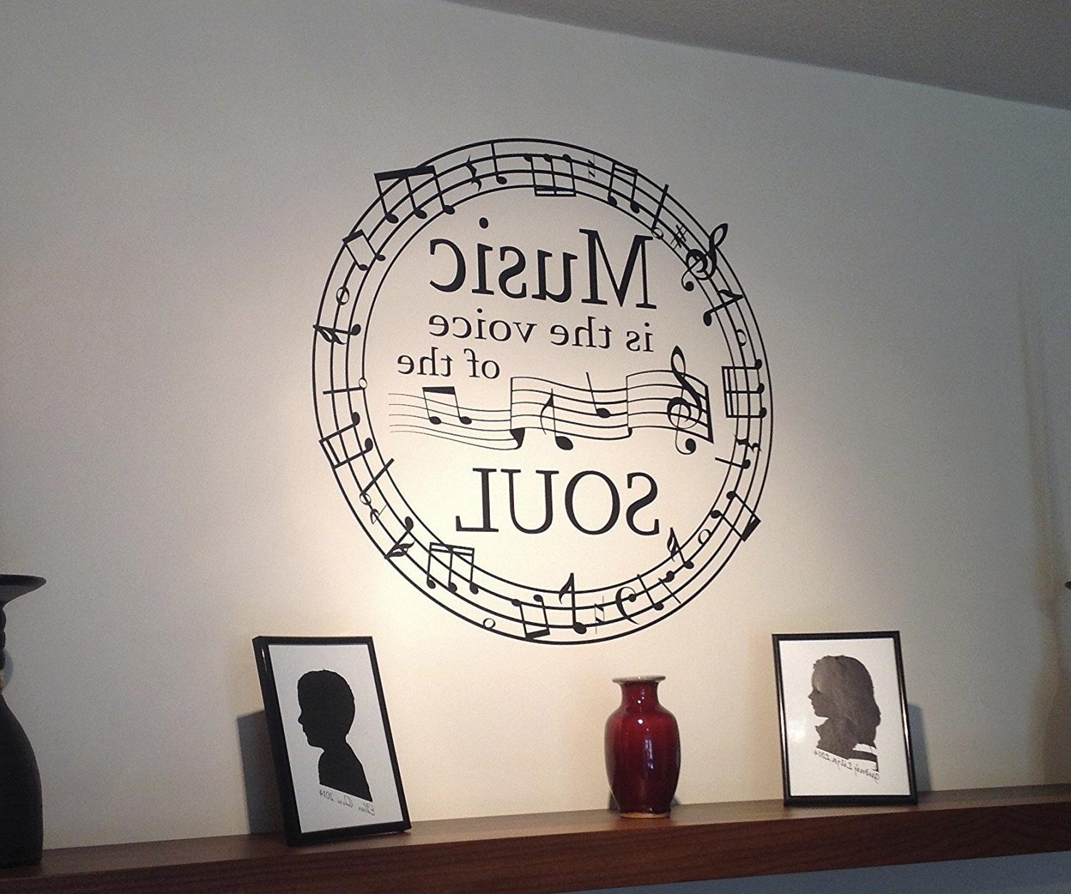 "Music Notes Wall Art Decals In Well Known Music Is The Voice Of The Soul "" Music Notes Circle Wall Art (View 5 of 15)"