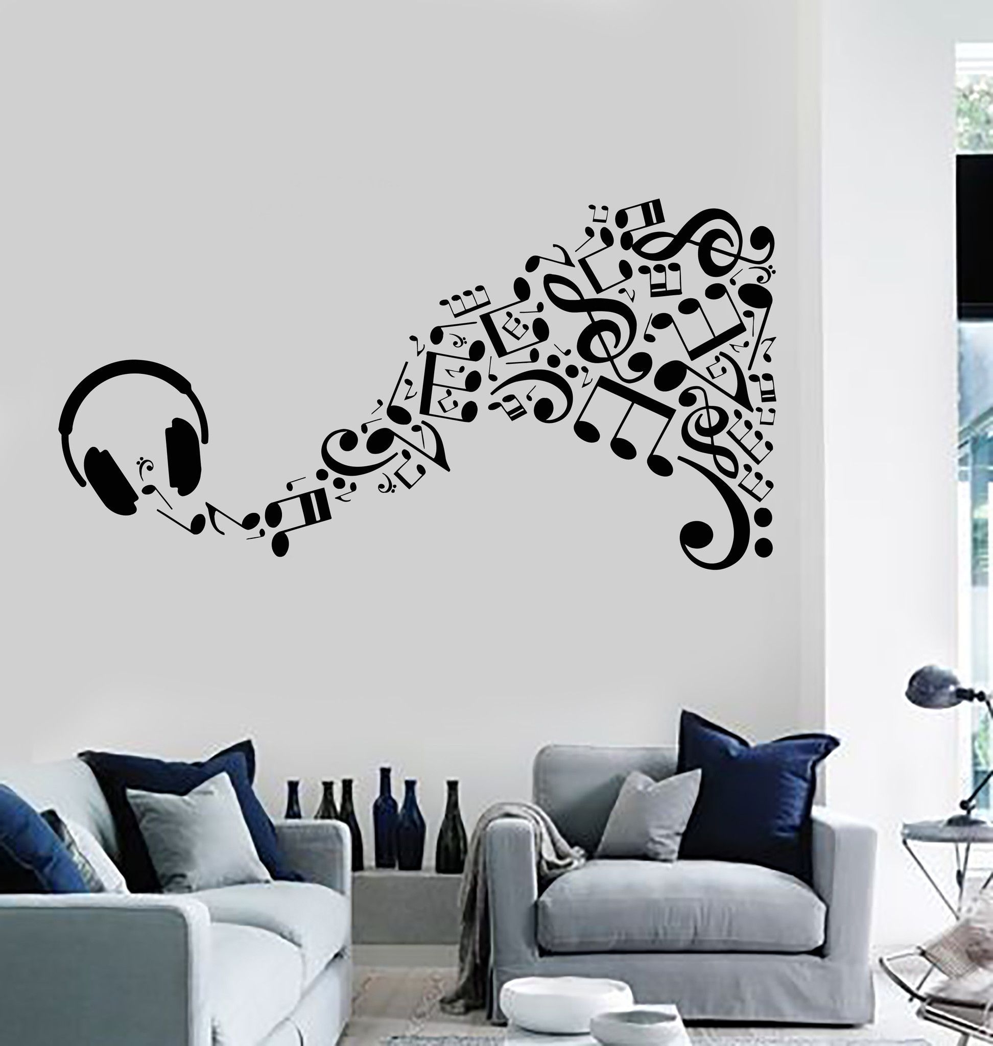 Music Notes Wall Art Decals With Current Vinyl Wall Decal Headphones Musical Notes Music Art Stickers (View 15 of 15)