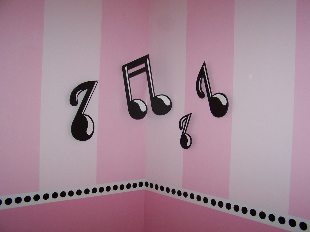 Music Theme Wall Art Regarding Most Current Bedroom : Music Theme Wallpaper With Pink Color Ideas 30+ Creative (View 14 of 15)