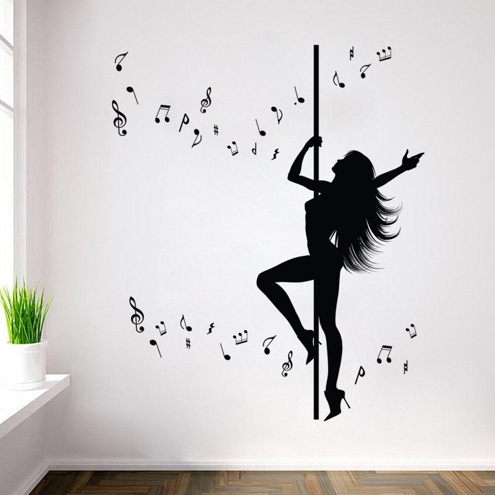 Music Themed Wall Art Within Newest Creative Dance Girl Music Wall Sticker Removable Waterproof (View 11 of 15)