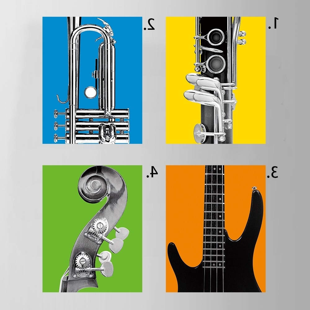 Musical Instrument Wall Art Intended For Most Recent Oil Painting Canvas Musical Instruments Wall Art Decoration (View 3 of 15)